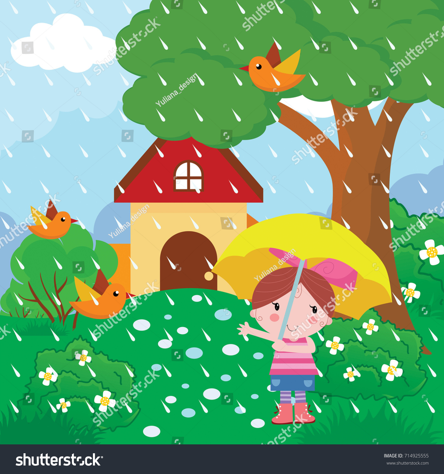 little girl outside the house when it rains with an umbrella cartoon