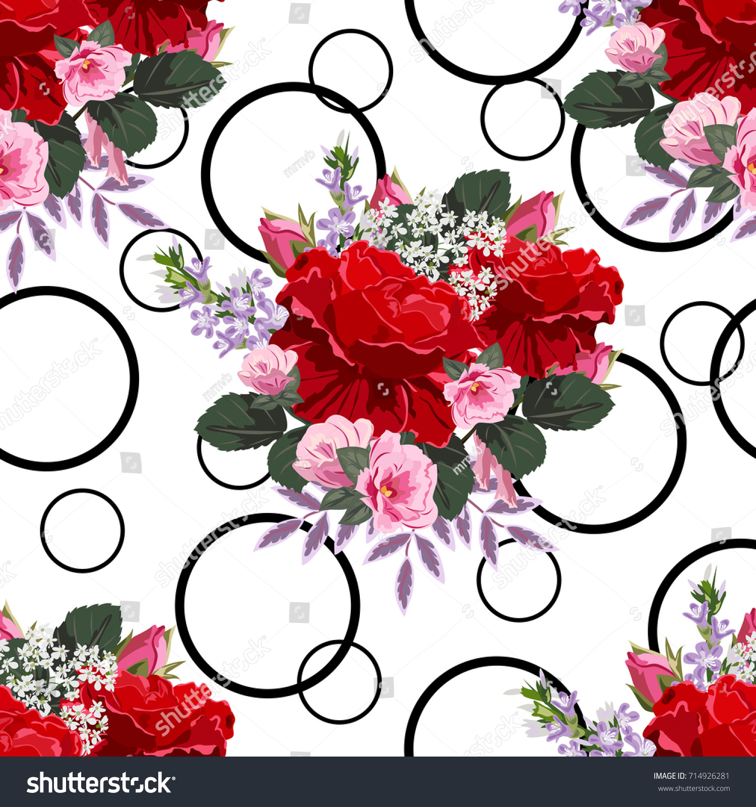 Vintage Seamless Pattern Beautiful Red Roses Stock Vector Royalty