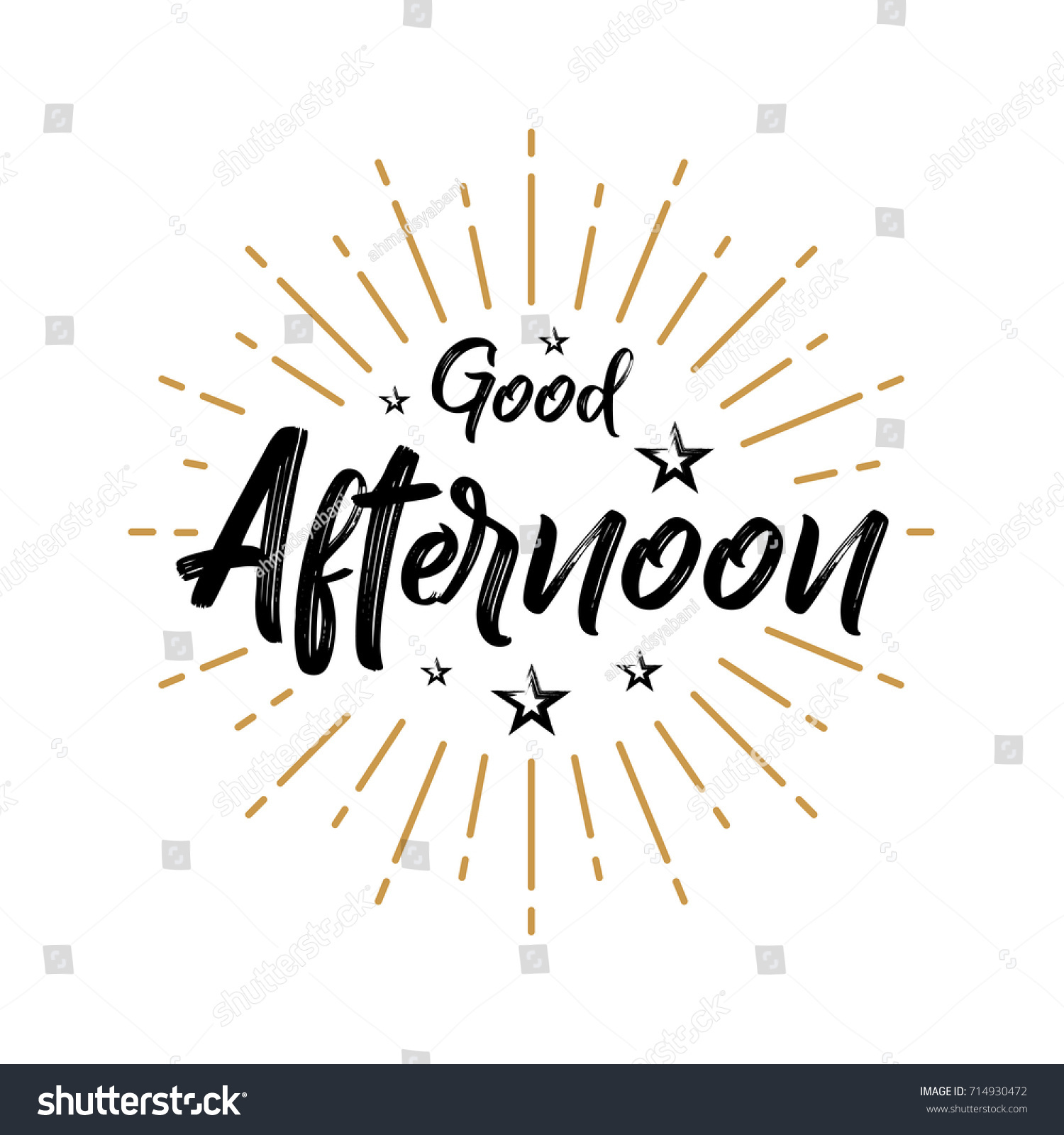 Good Afternoon Fireworks Today Day Lettering Stock Vector 714930472