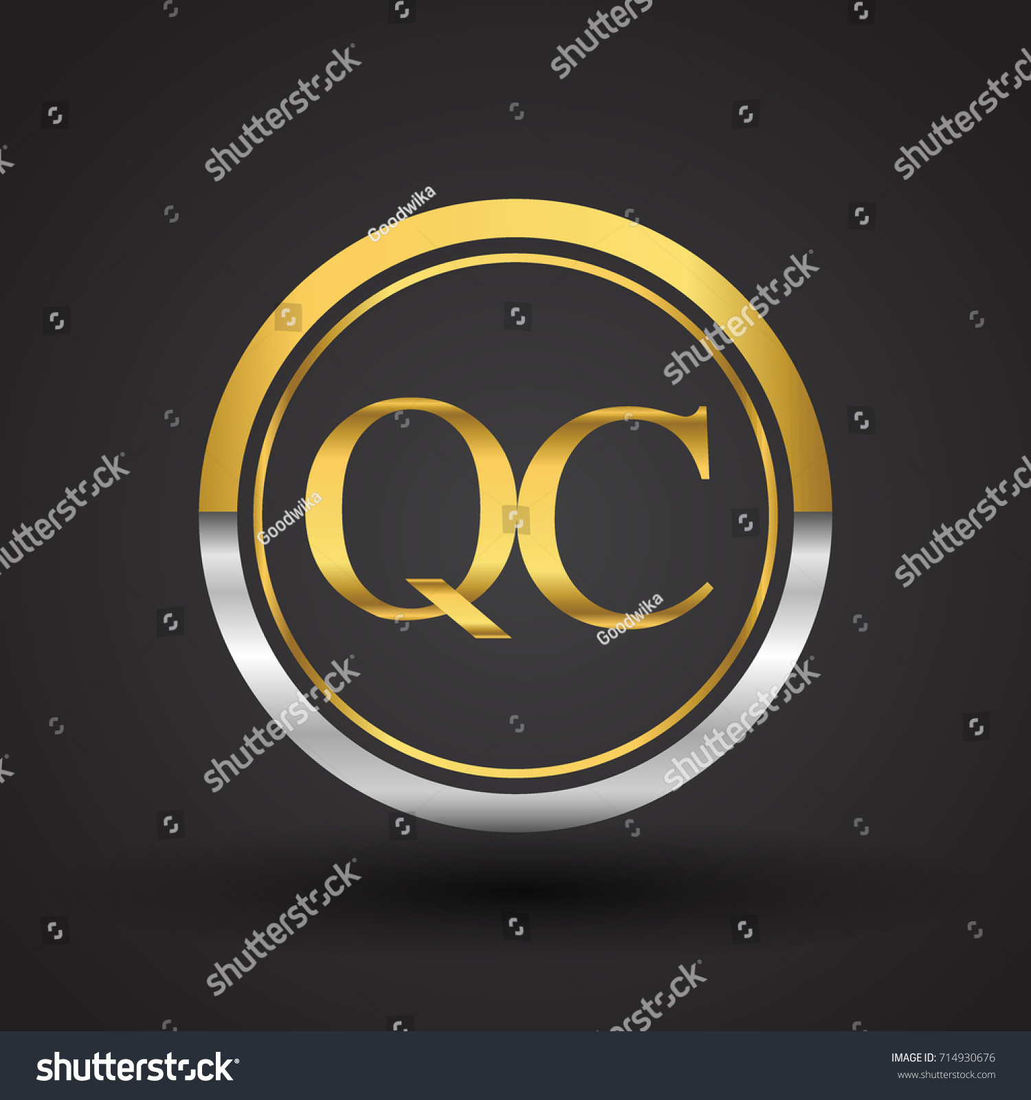 Qc Letter Logo Circle Gold Silver Stock Vector HD (Royalty Free ...