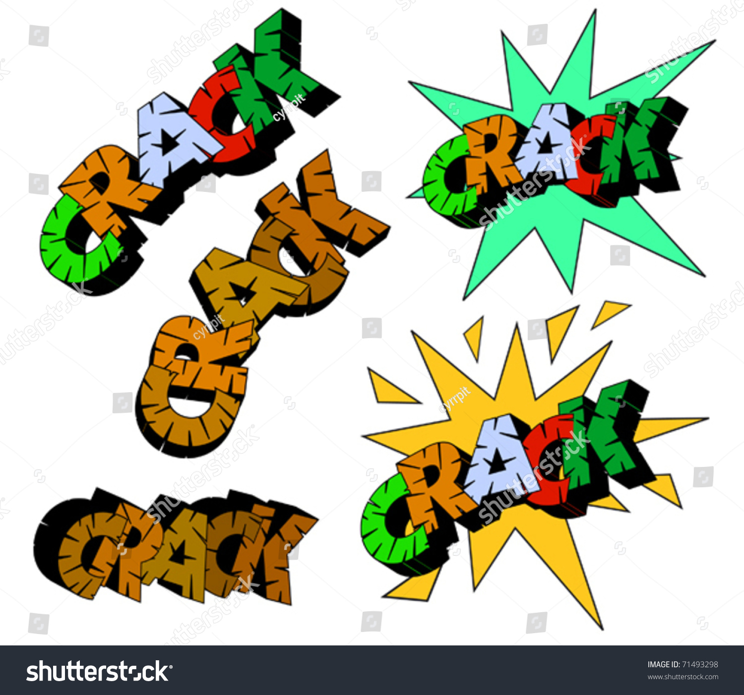 Lettering Crack Different Comic Styles Stock Vector