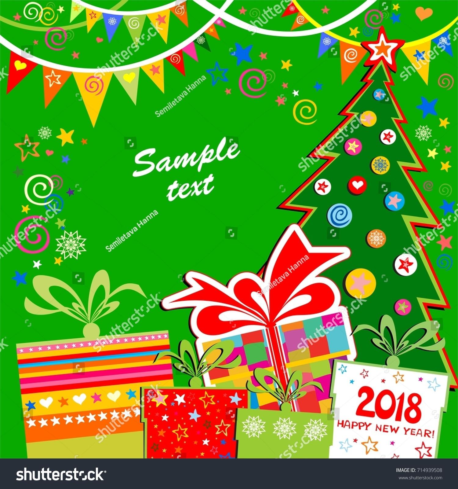 Xmas Card 2018 Happy New Year Stock Vector Royalty Free 714939508