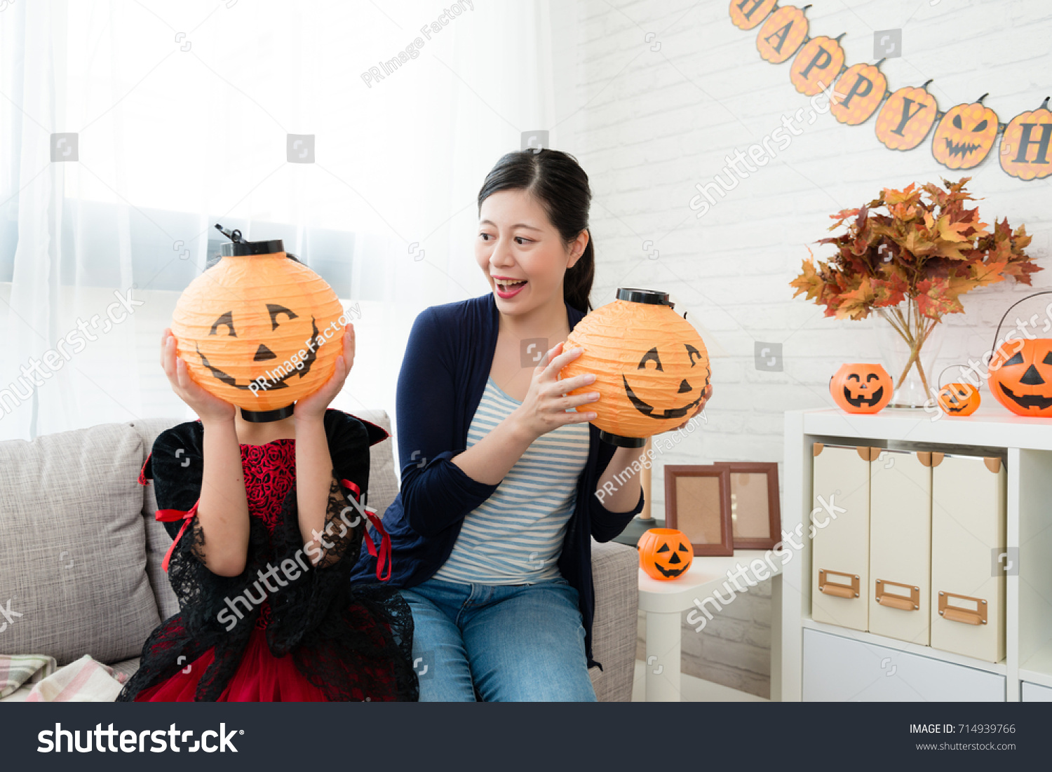 naughty girl wear halloween costume dress stock photo (edit now