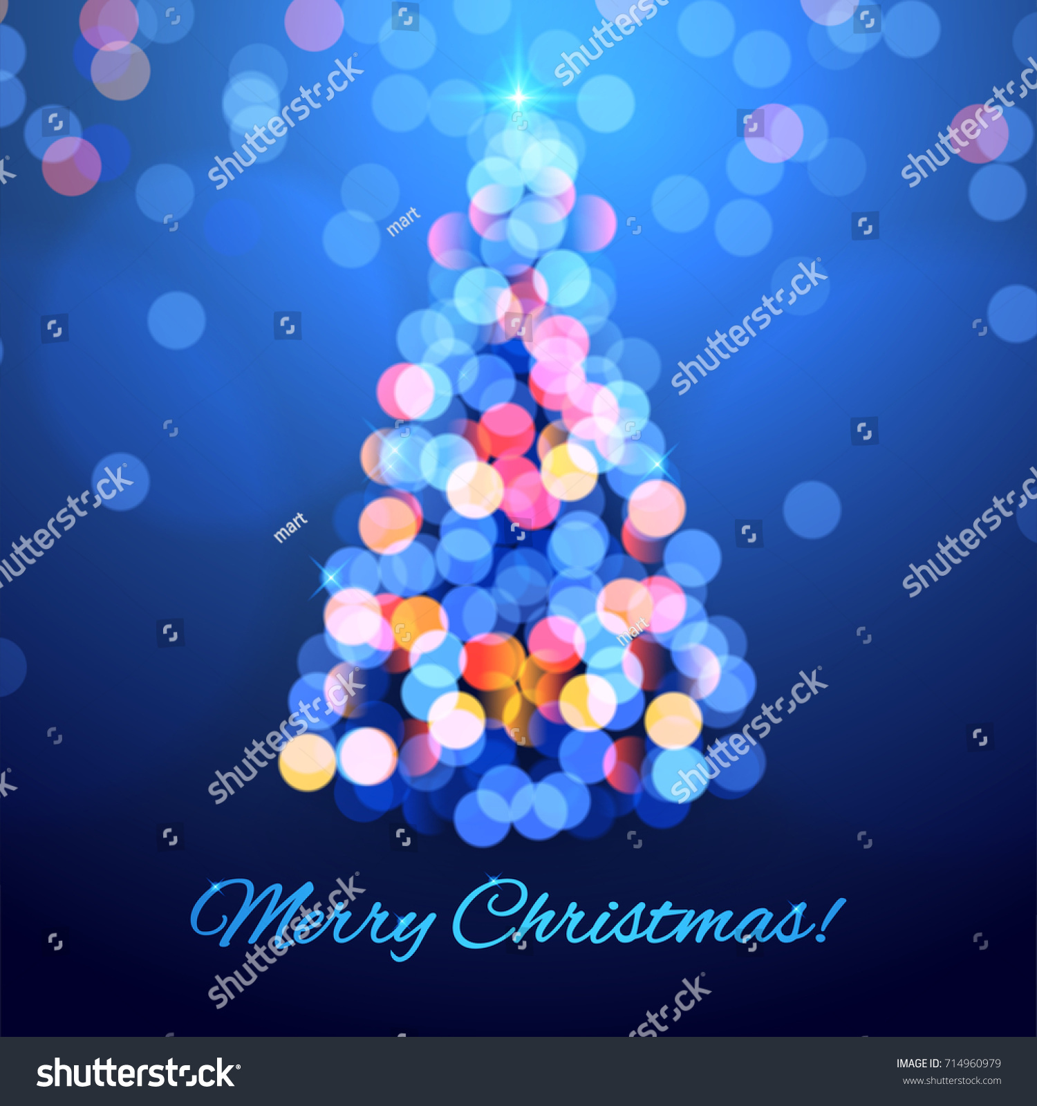 bright christmas tree made of lights on blue background vector illustration - Christmas Tree Made Of Lights