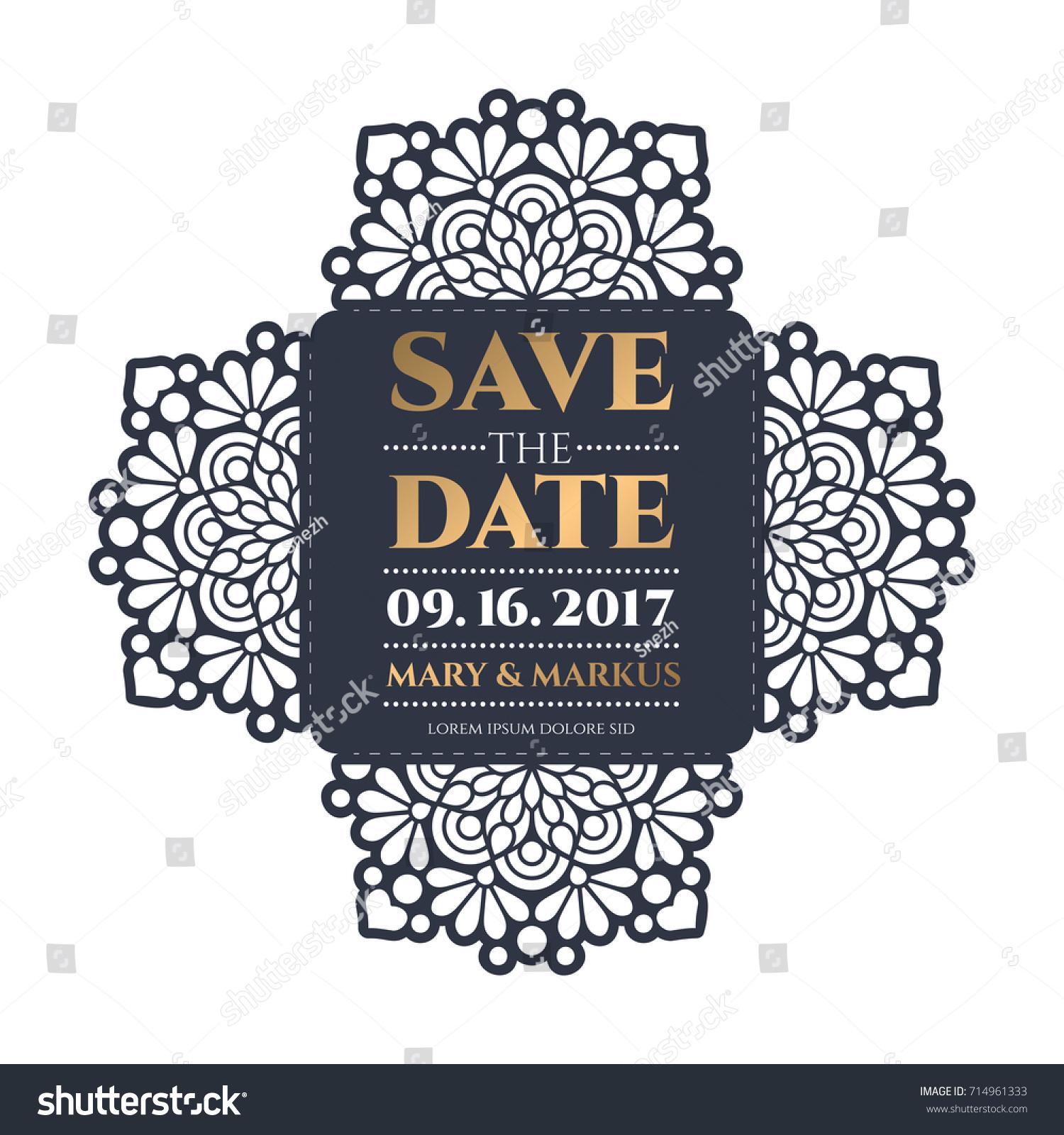 Vector Wedding Card Laser Cut Template Stock Vector (Royalty Free ...