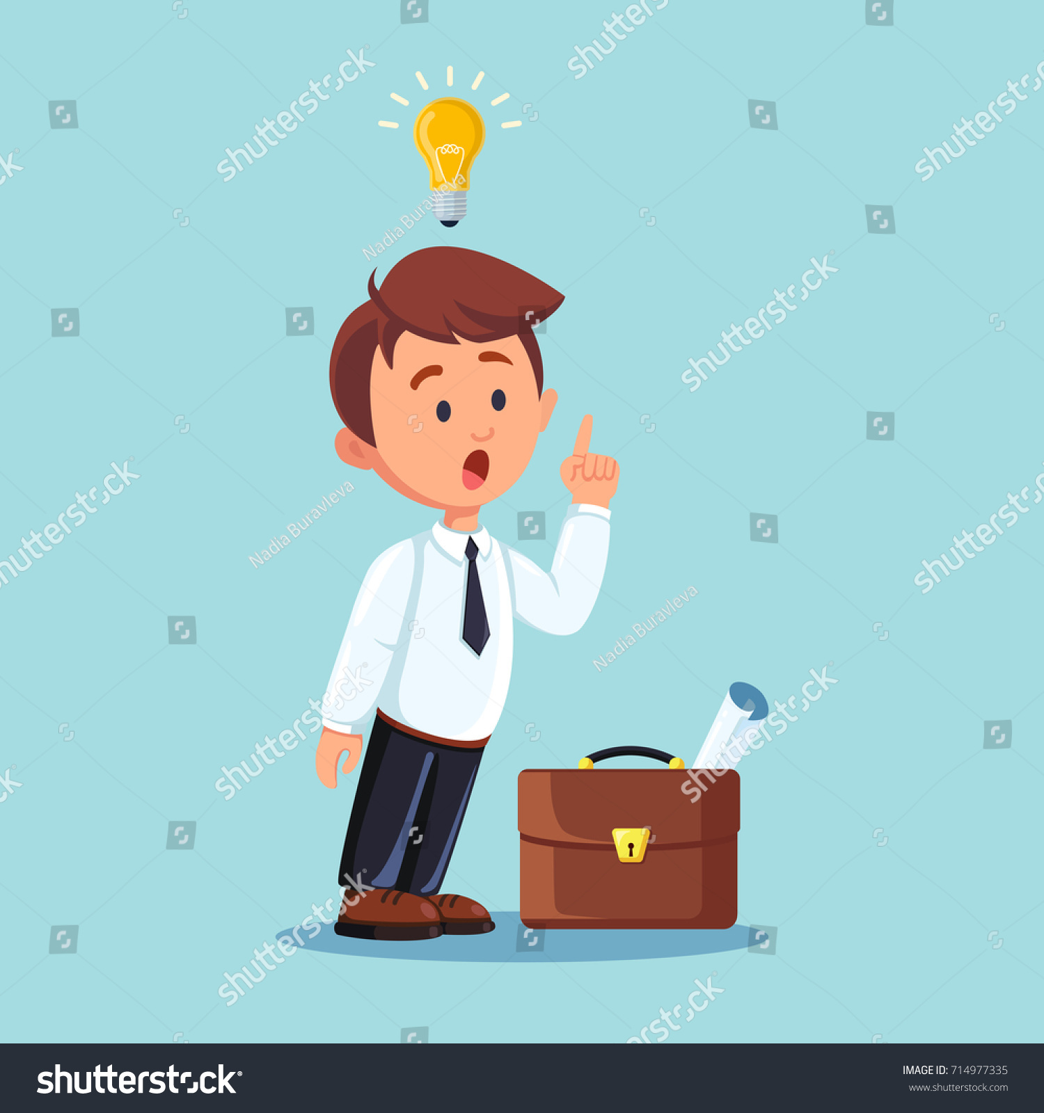 Businessman Character With Lightbulb And Briefcase Isolated On Background Man Thinking Pointing At Light