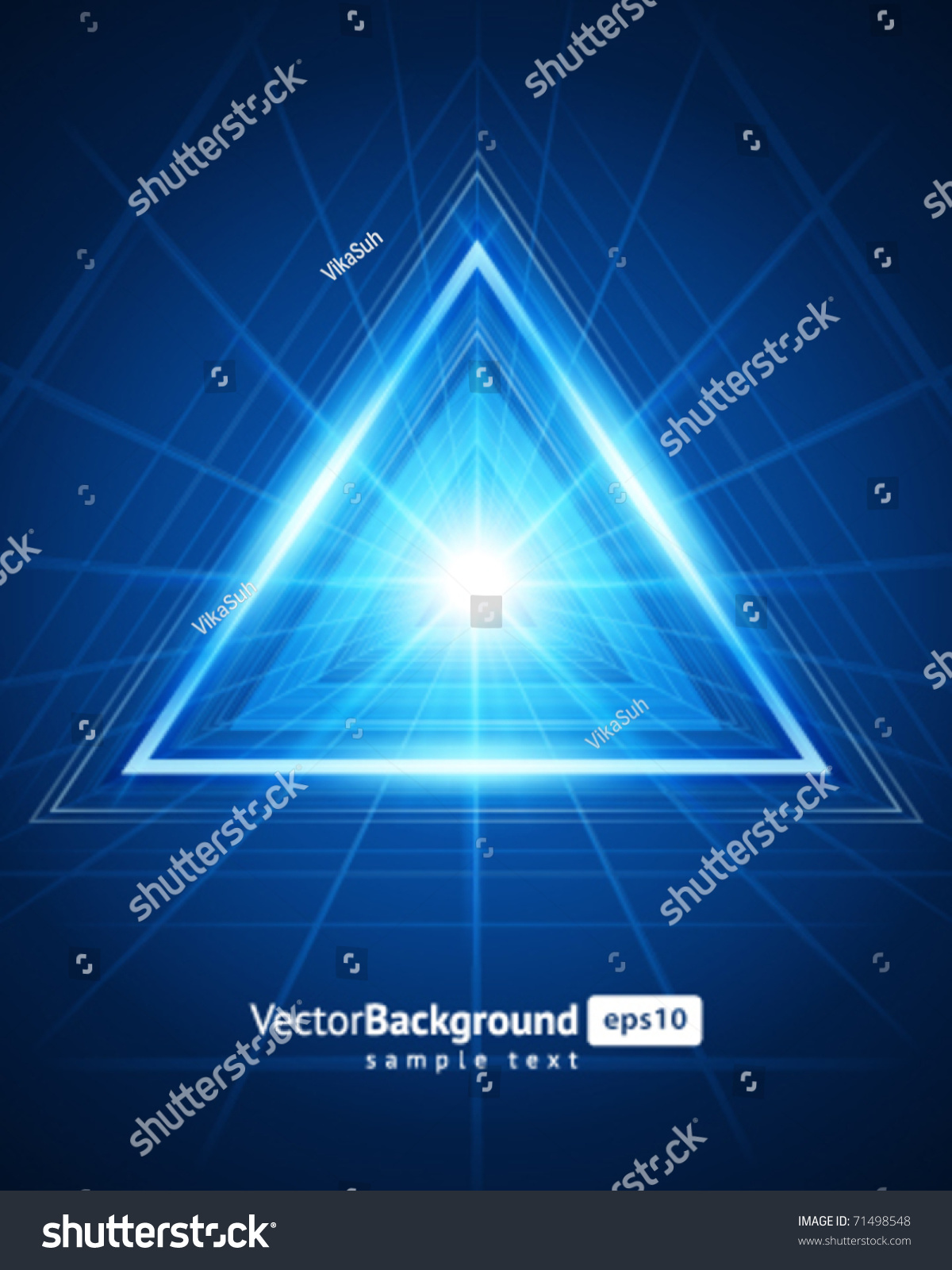 3d Abstract Triangle Tunnel Vector Background Stock Vector
