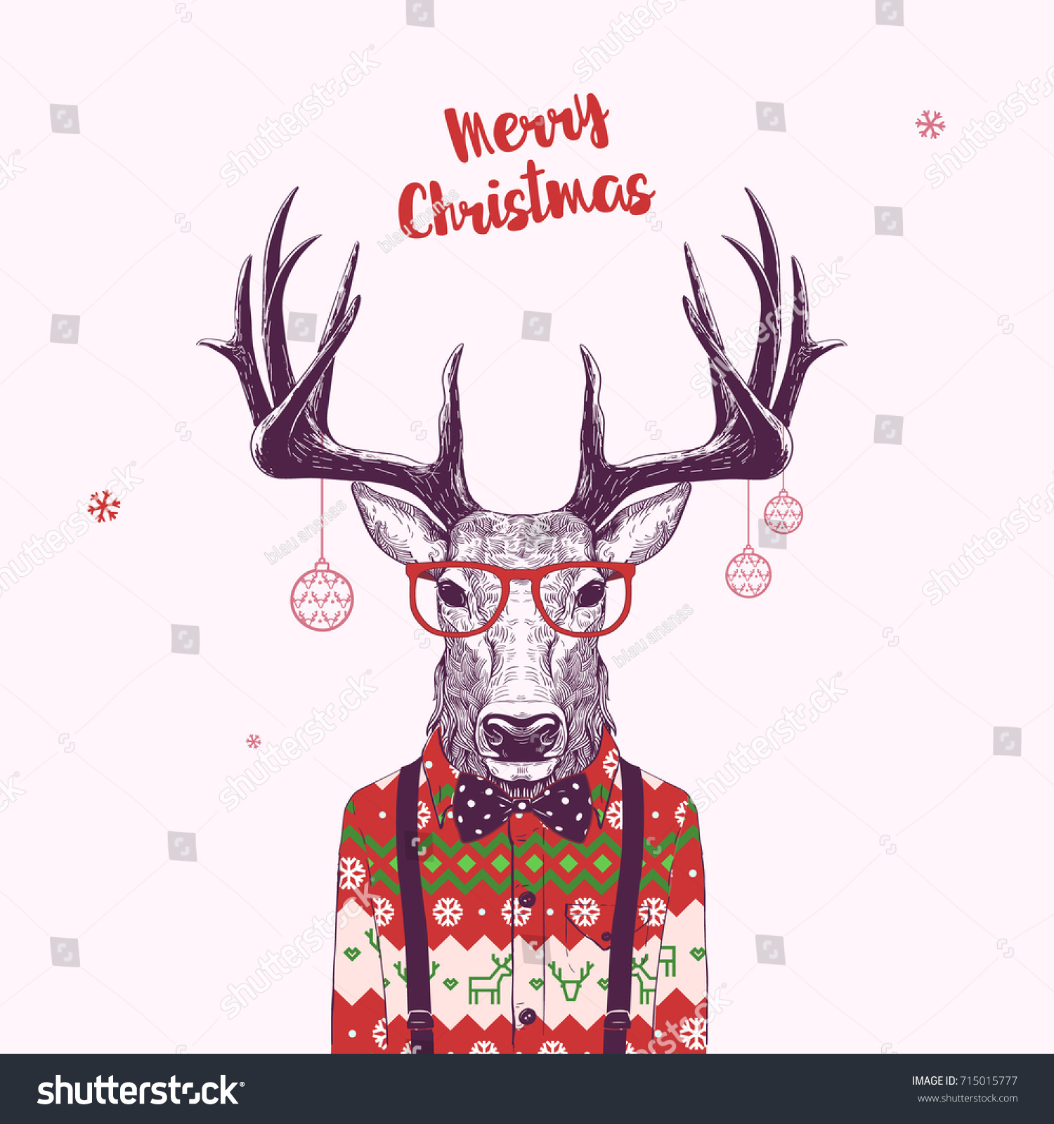 Christmas Card Nerd Hipster Deer Vector Stock Vector ...