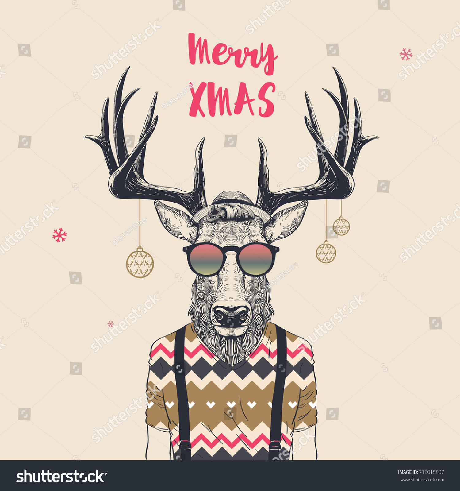 Christmas Card Cool Hipster Deer Merry Stock Vector 715015807