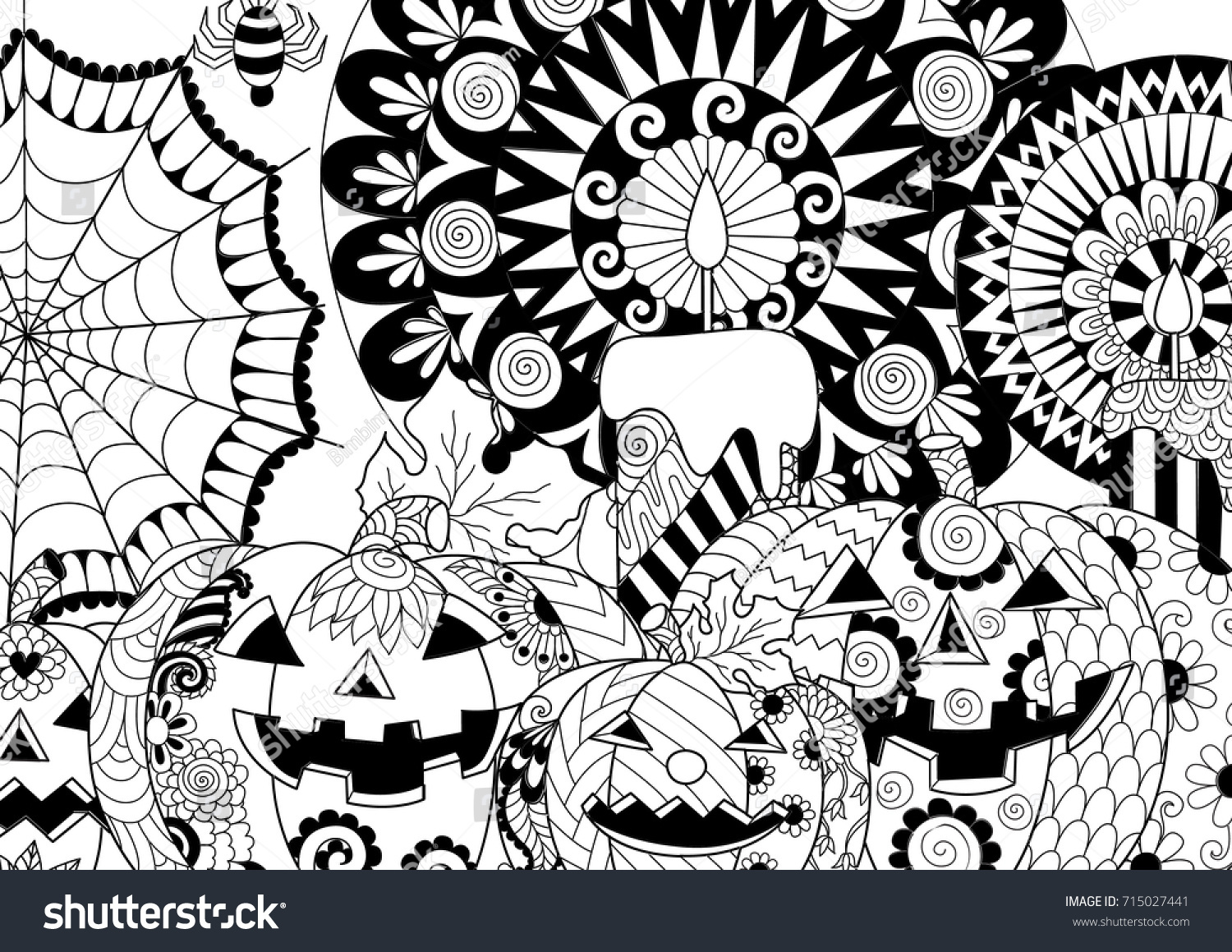 Mehndi Elephant Coloring Pages : Halloween pumpkincandlesspidercobweb adult coloring book page