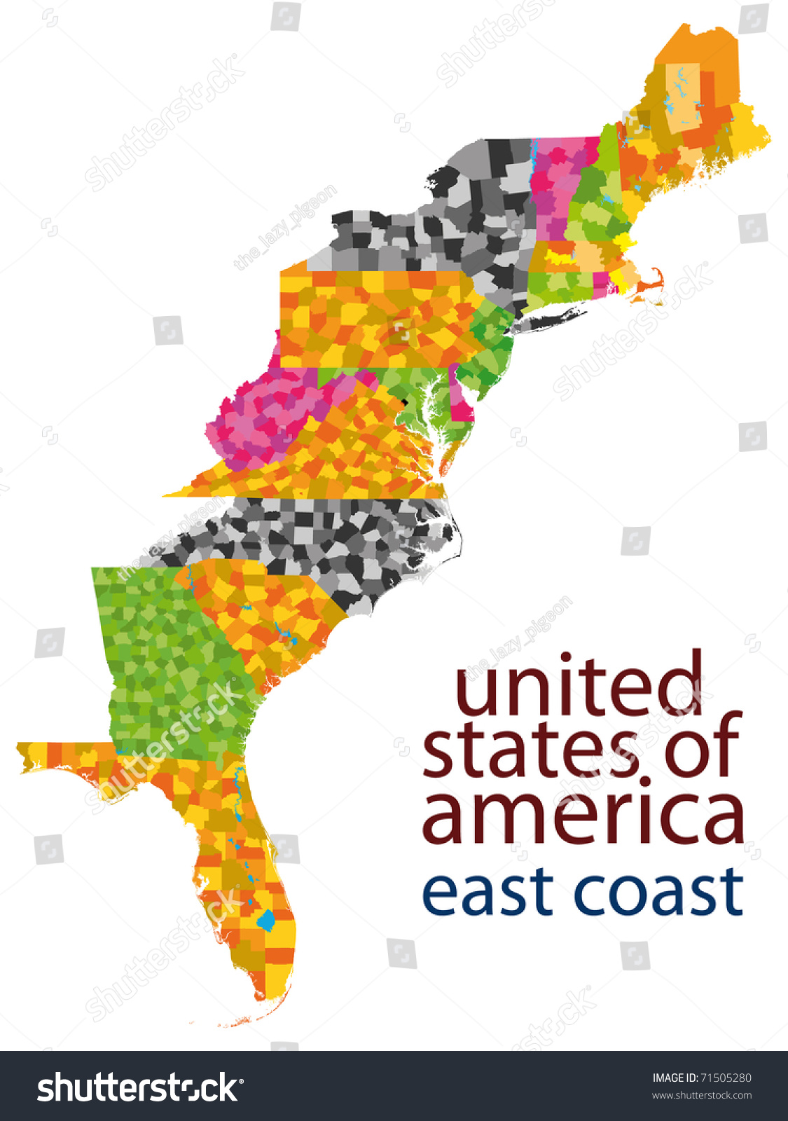 Usa East Coast Map Stockillustration 71505280 – Shutterstock