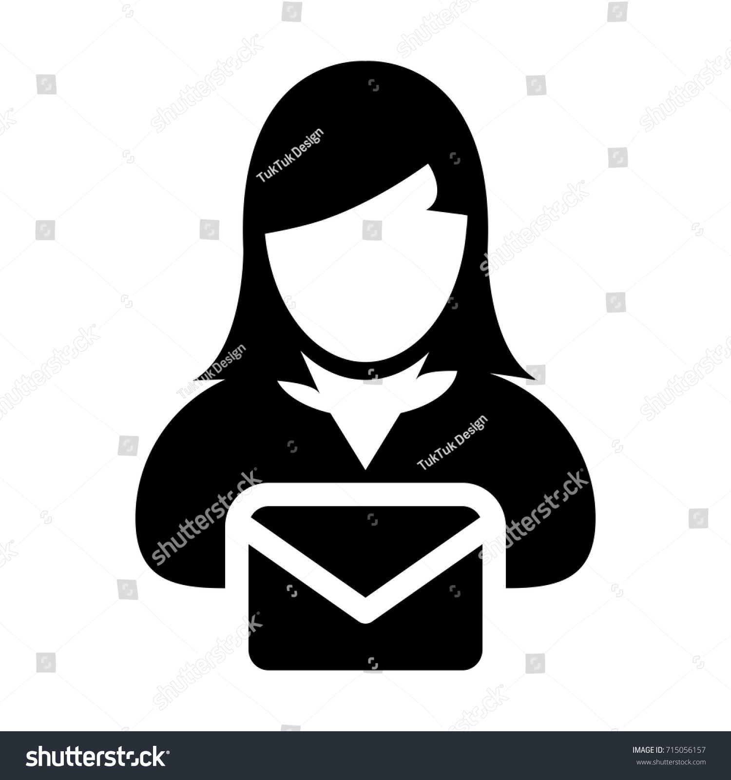 Woman Email Icon Vector Person Female Stock Vector Royalty Free