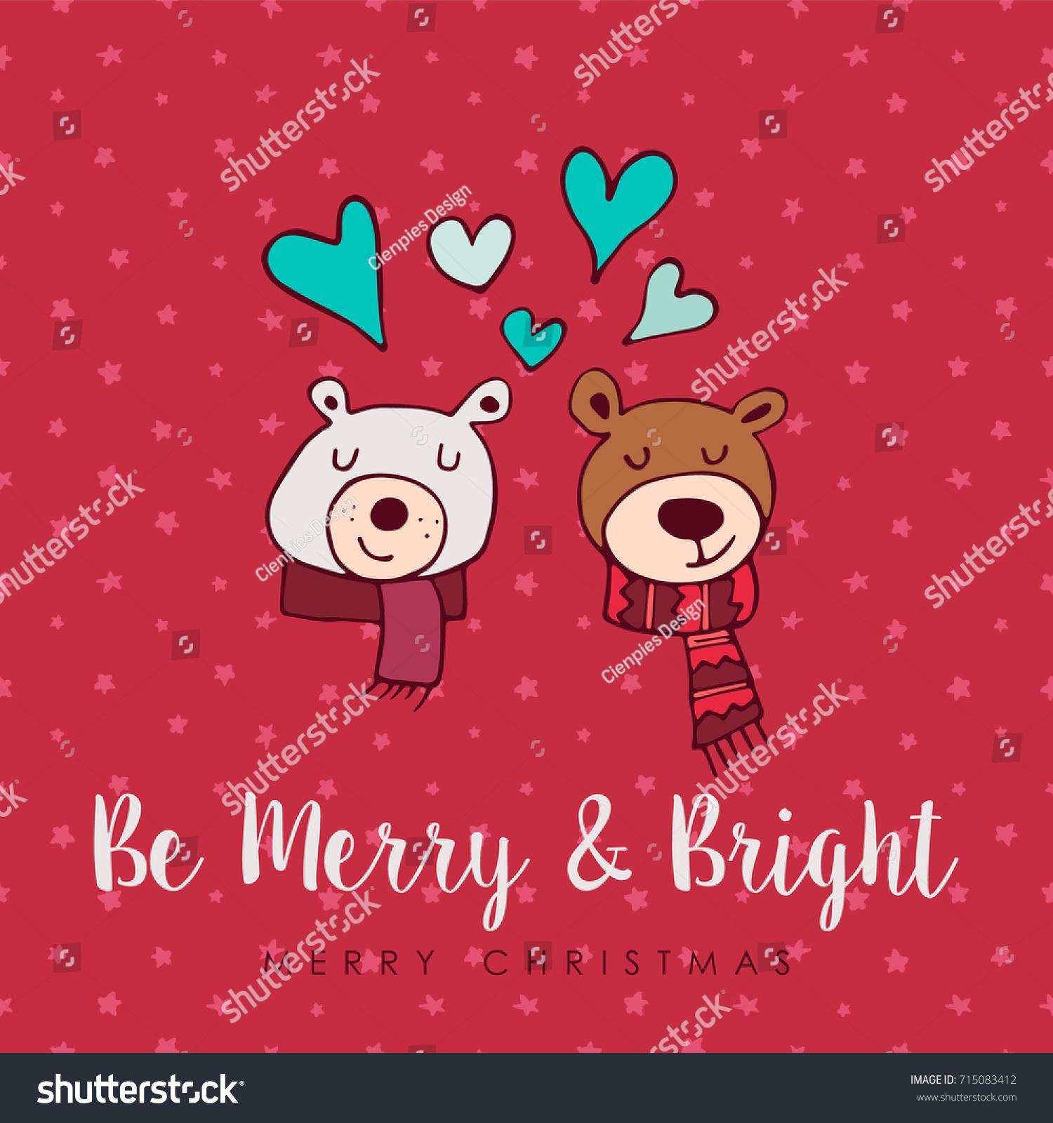 Merry Christmas Hand Drawn Bear Greeting Stock Vector Royalty Free