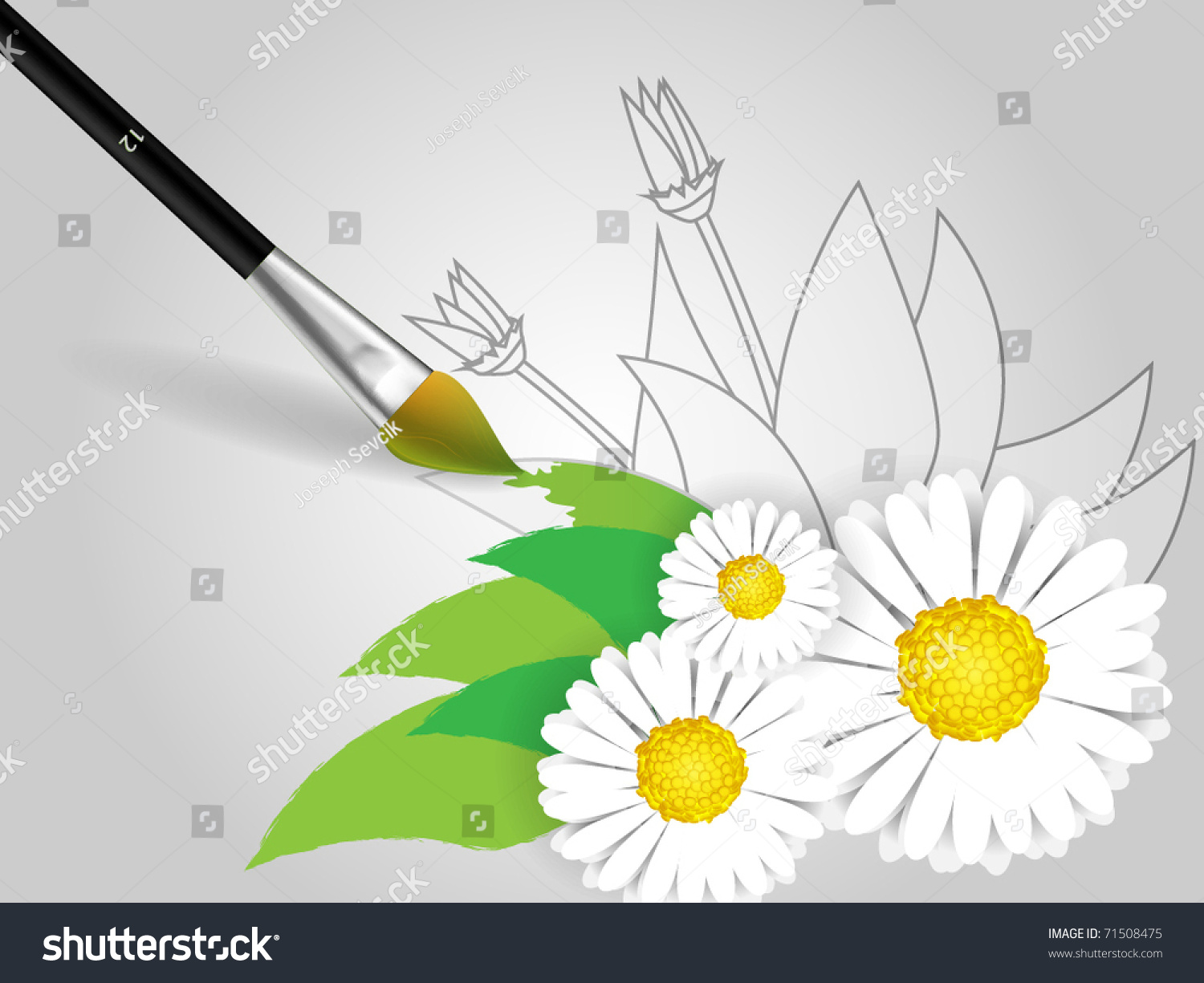 Draw flowers on paper brush stock vector 71508475 shutterstock draw flowers on paper with brush mightylinksfo