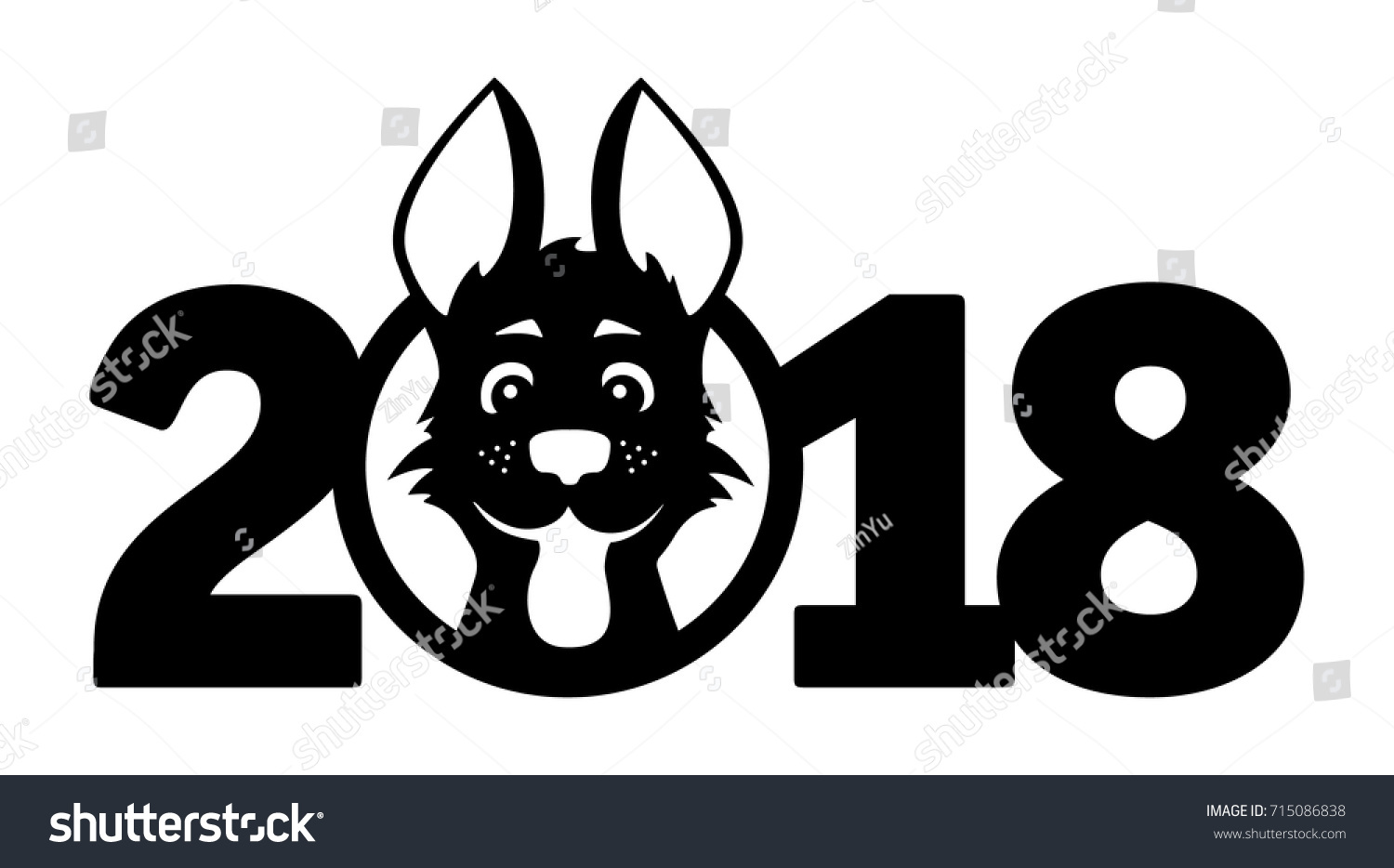 Number 2018 cute funny cartoon puppy stock vector 715086838 number 2018 with cute and funny cartoon puppy symbols of the years on the chinese buycottarizona Gallery
