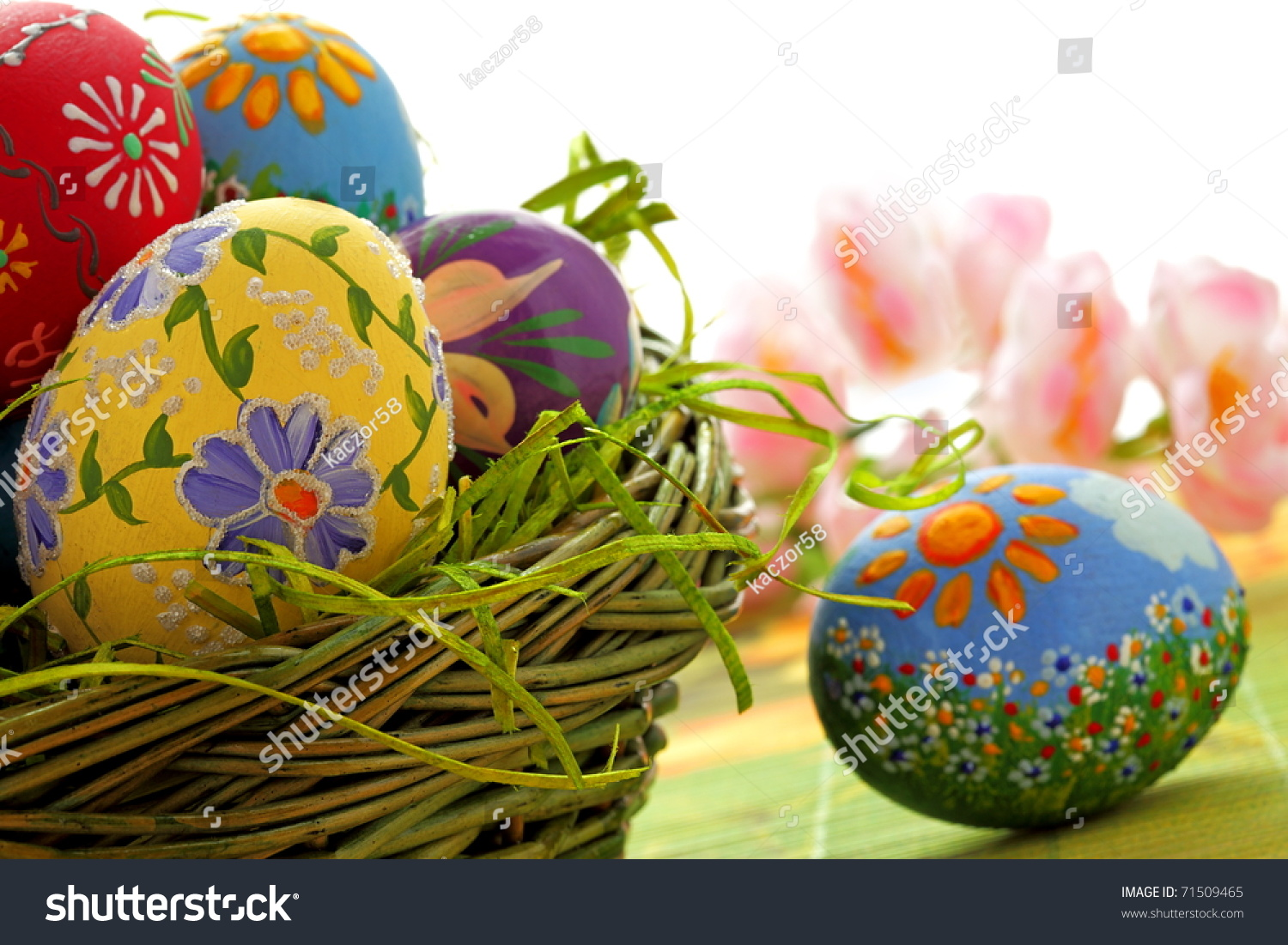 hand painted beautiful colorful easter eggs stock photo 71509465