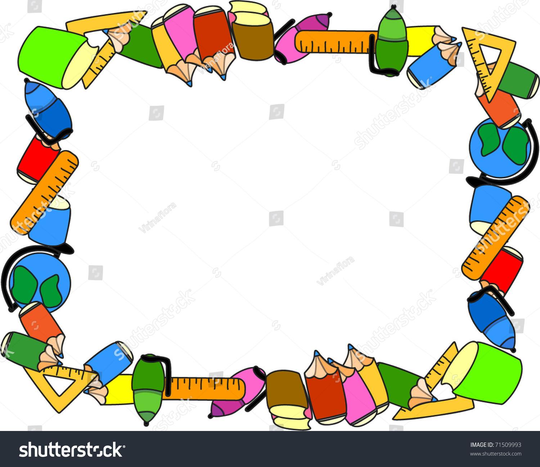School Supplies Frame Stock Vector 71509993 - Shutterstock