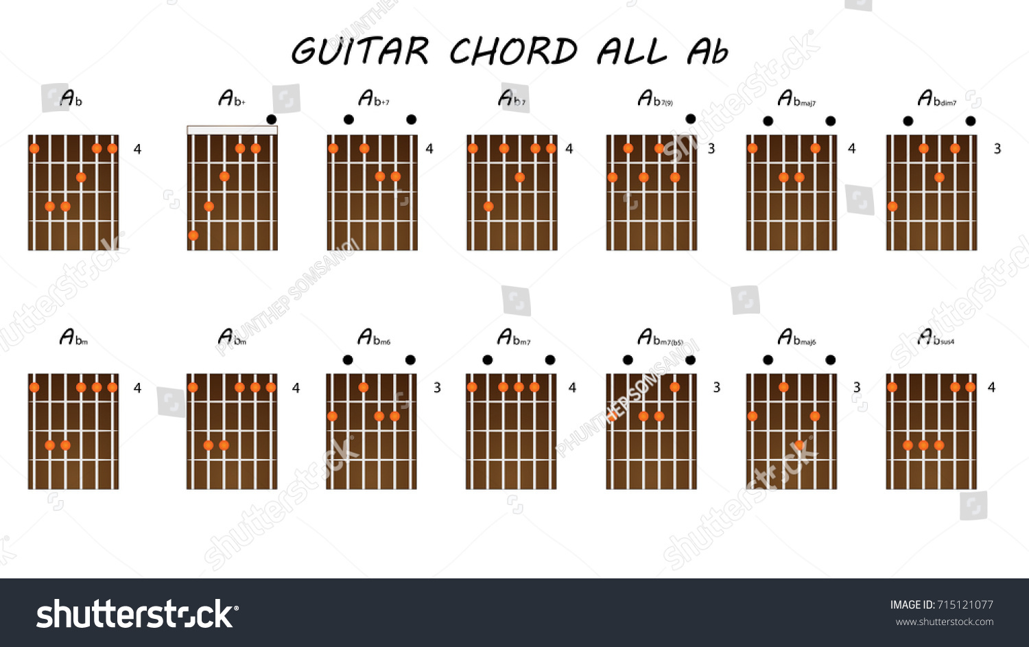 All Chords Guitar Ab Stock Vector Royalty Free 715121077