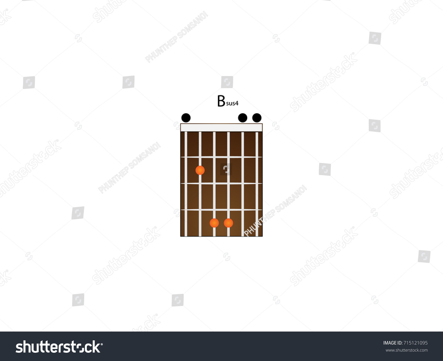 Chord Guitar Bsus 4 Stock Vector Royalty Free 715121095 Shutterstock
