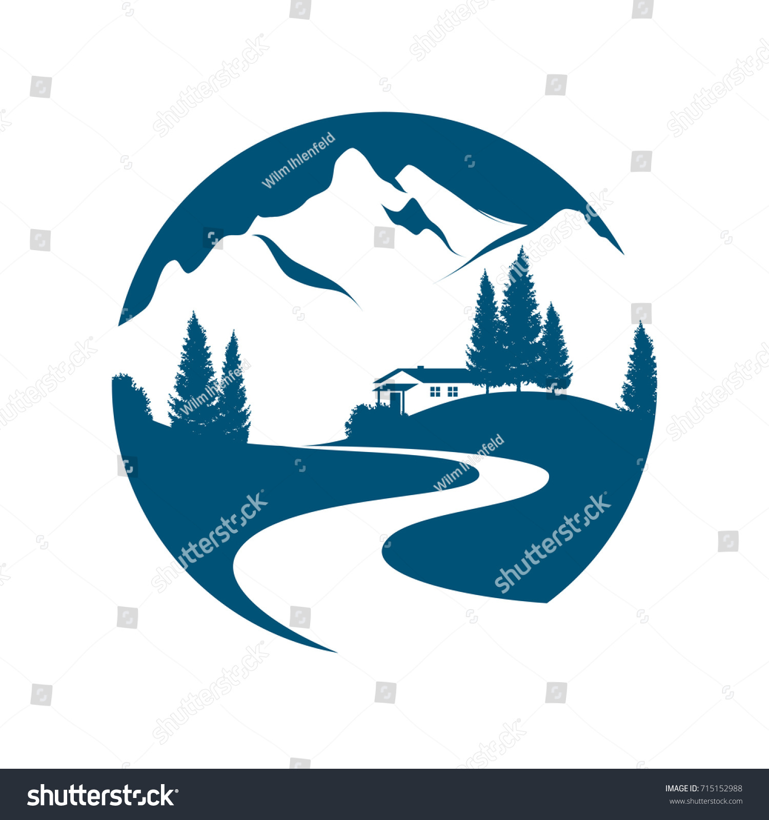 Vector Pictogram Alpine Landscape Creek Road Stock 715152988