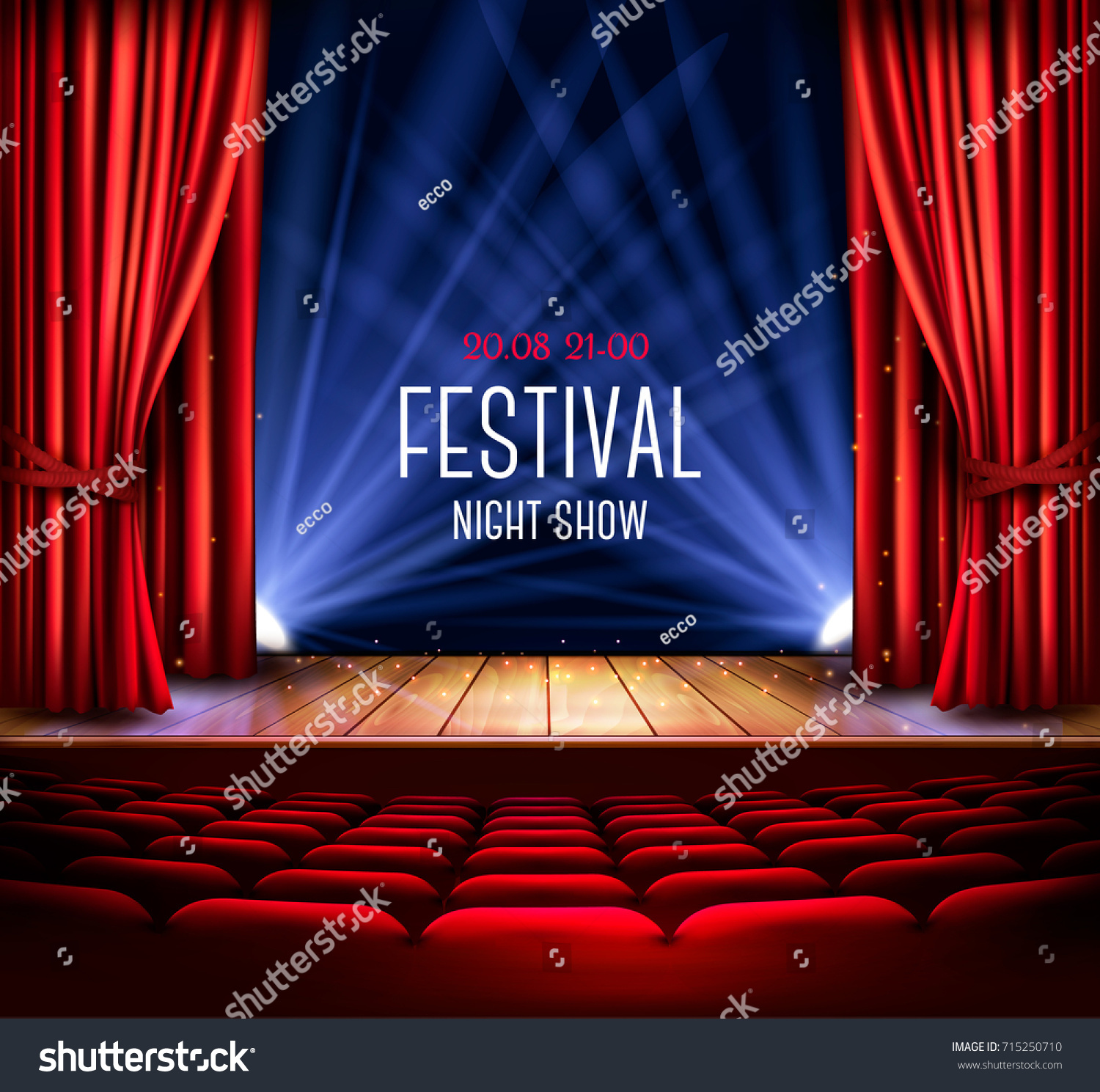 Theater Stage Red Curtain Spotlight Festival Stock Vector 715250710 ...