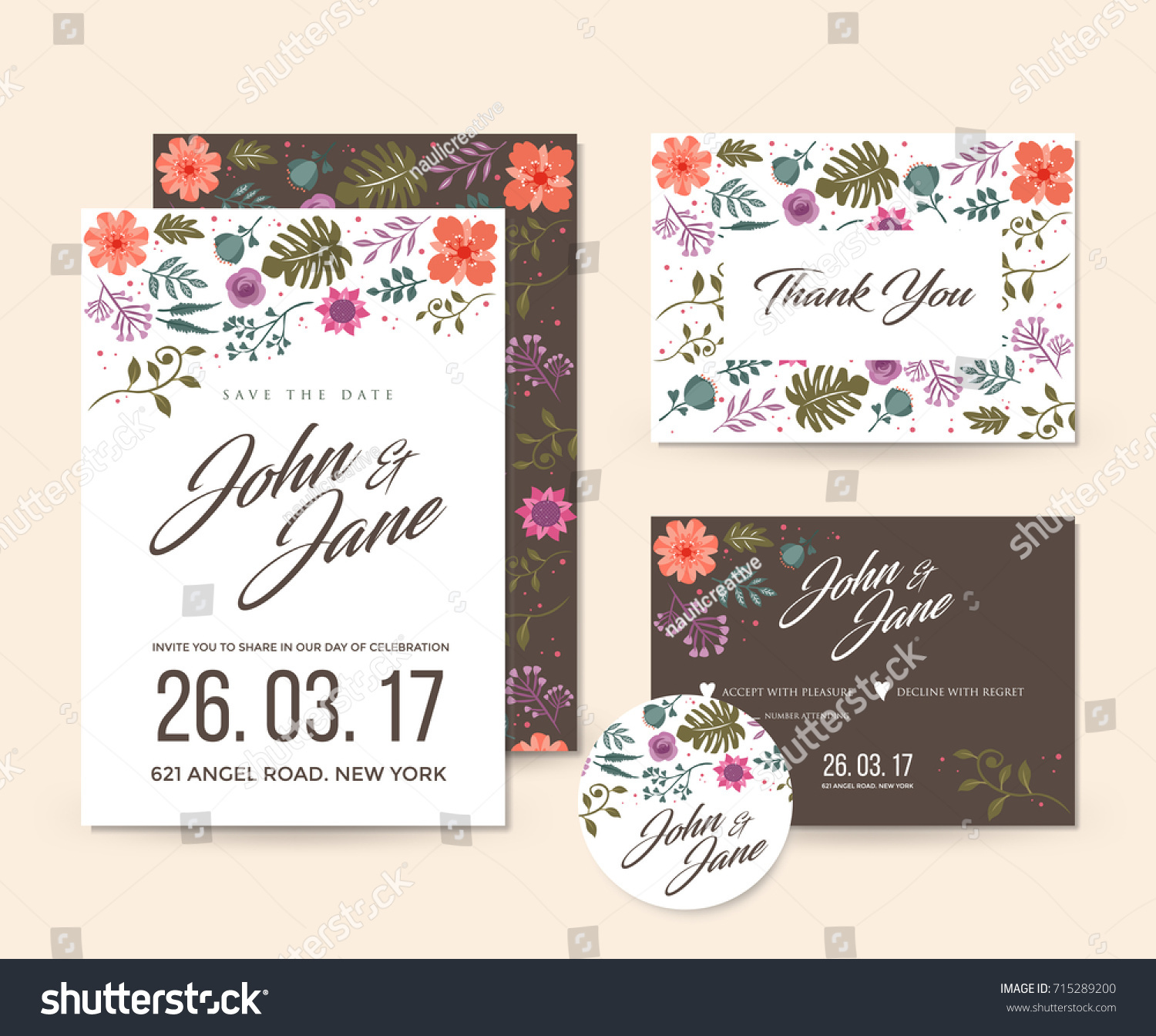 Modern Save Date Floral Wedding Invitation Stock Vector (Royalty Free)  715289200