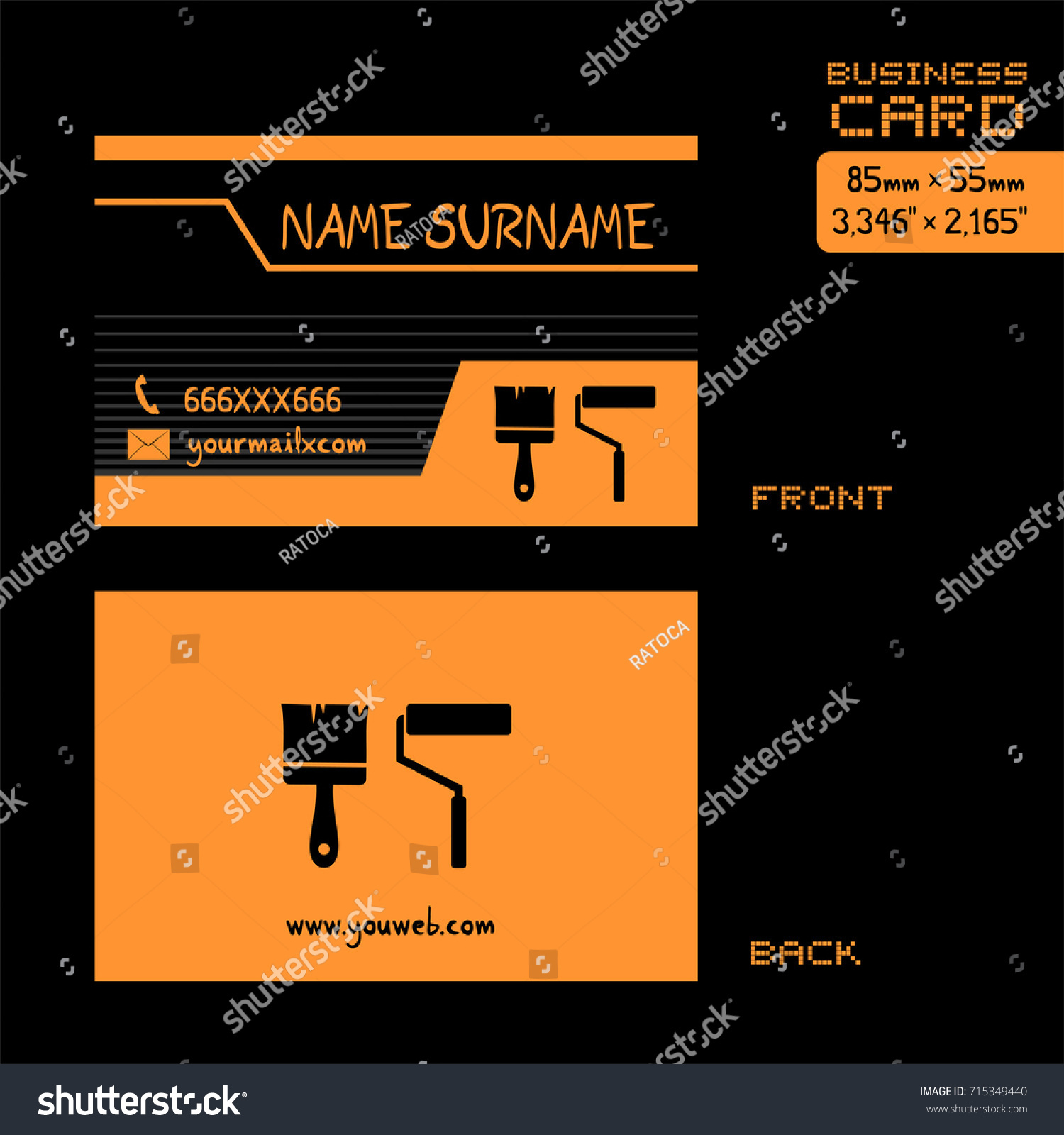 Business card painter worker stock vector 715349440 shutterstock business card for painter worker magicingreecefo Gallery