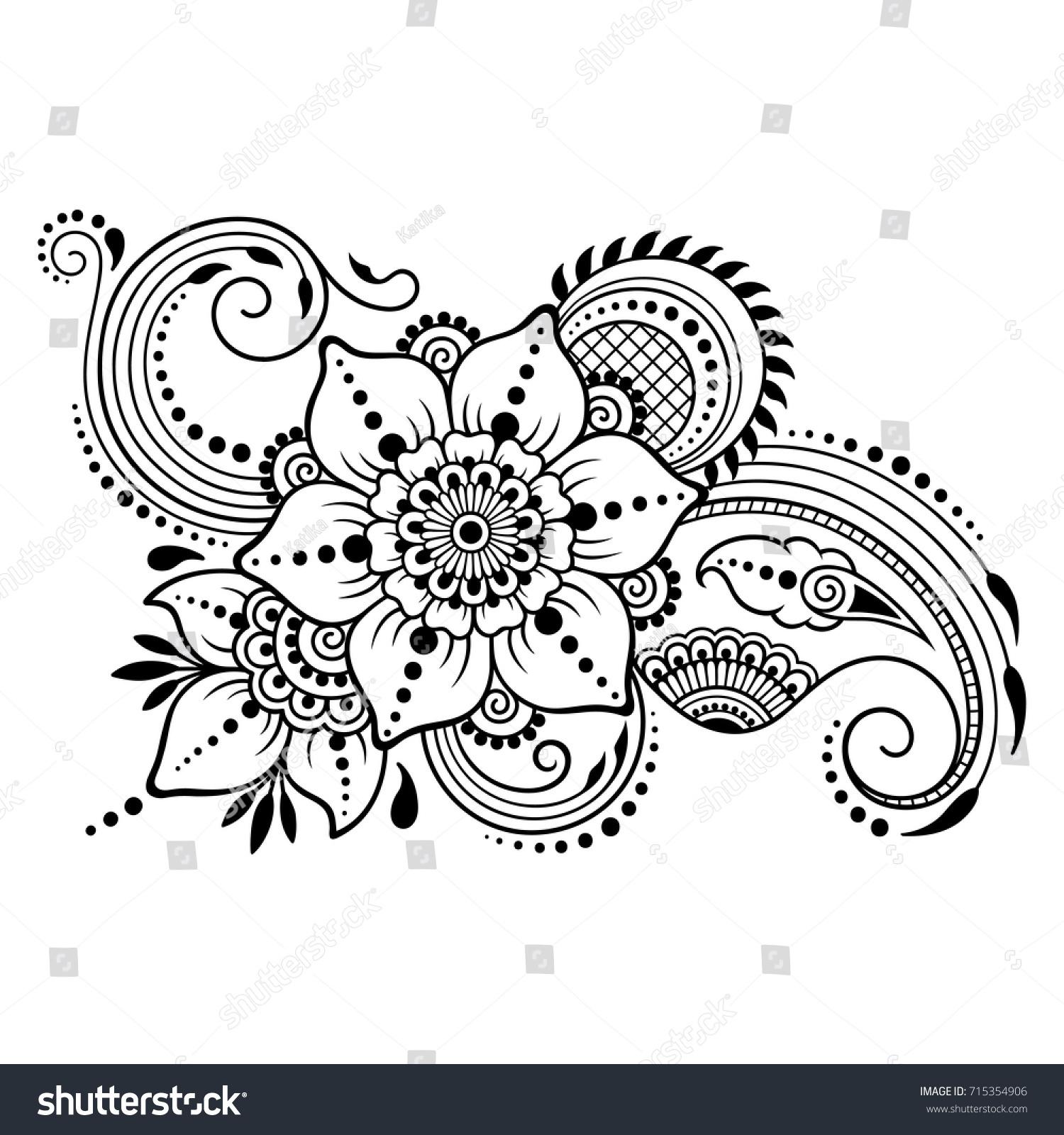 Henna Design Outline: Henna Tattoo Flower Template Mehndi Style Stock Vector