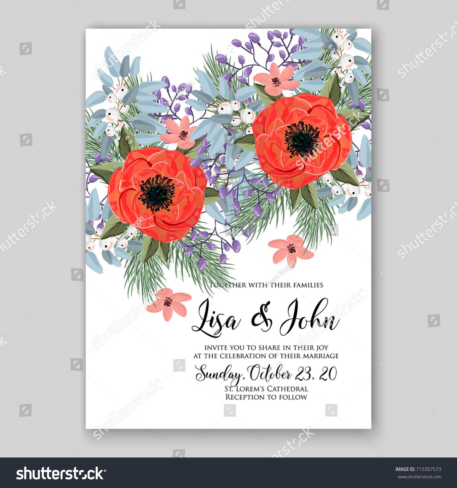 Poppy Ranunculus Wedding Invitation Card Template Stock Vector ...