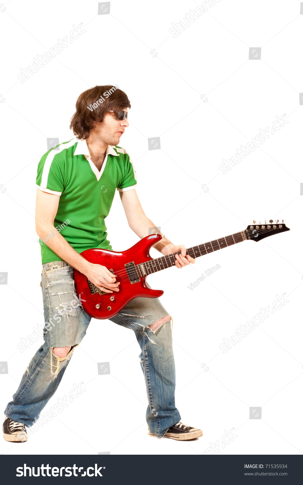Guitar Player Playing Rock And Roll Over White Stock Photo ...