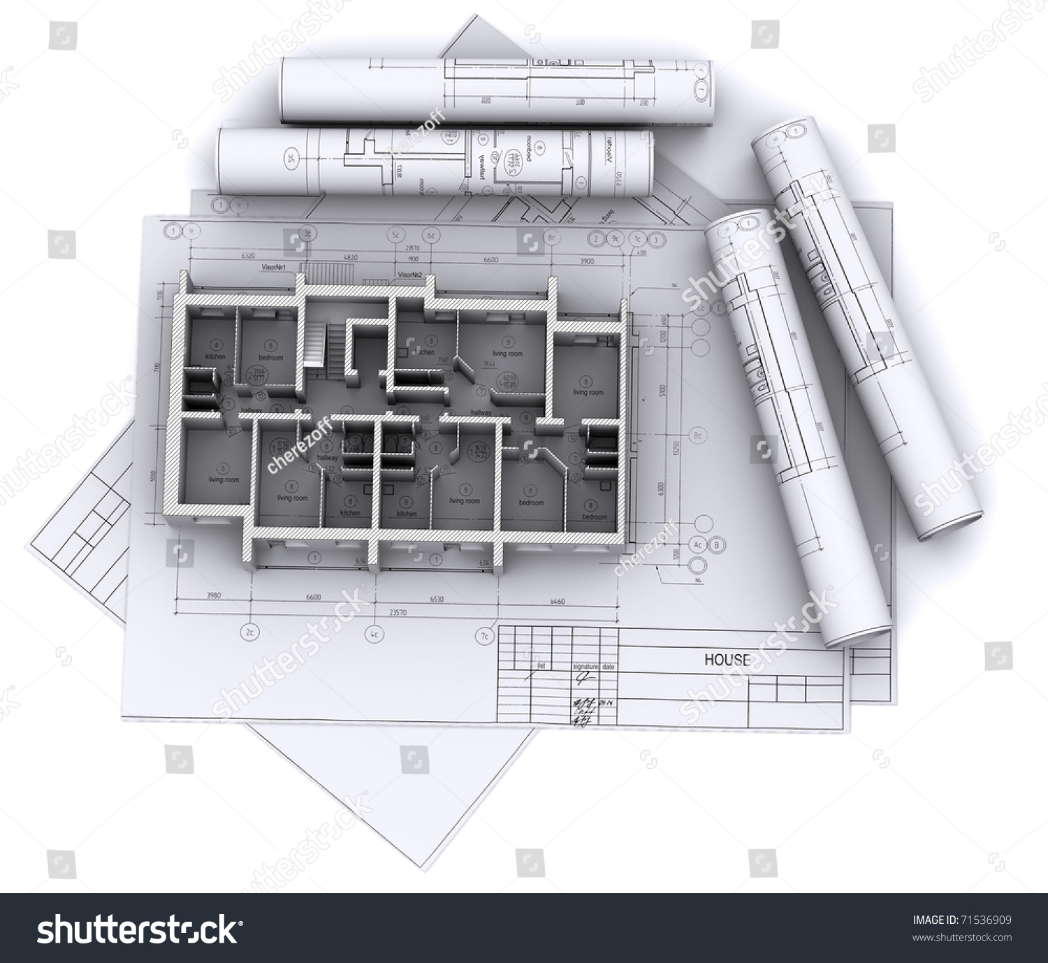 Wall Schematic Engineering Diagram Built Walls House On Construction Drawings Stock Photo Edit Now Of A