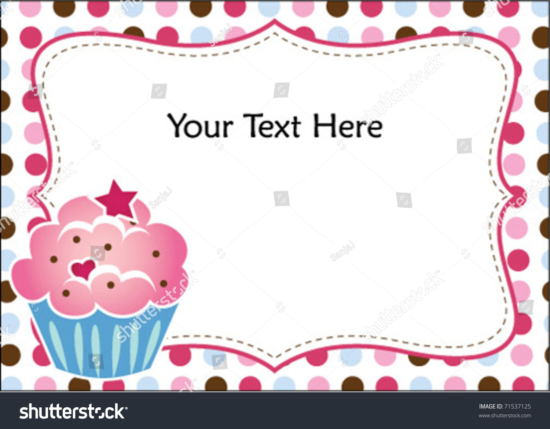cute cupcake invitation stock vector illustration 71537125