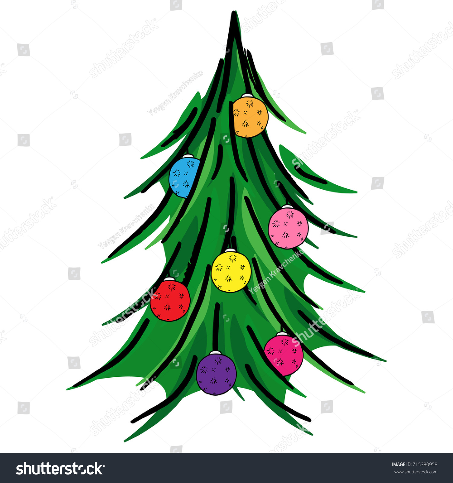 a christmas tree large christmas balls christmas tree decoration vector illustration - Large Christmas Tree
