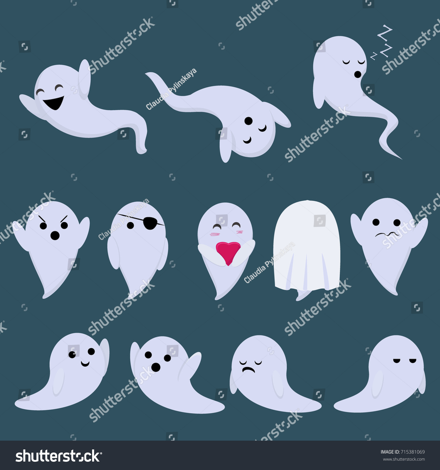 Set Vector Stickers Holiday Halloween Ghosts Stock Vector ...