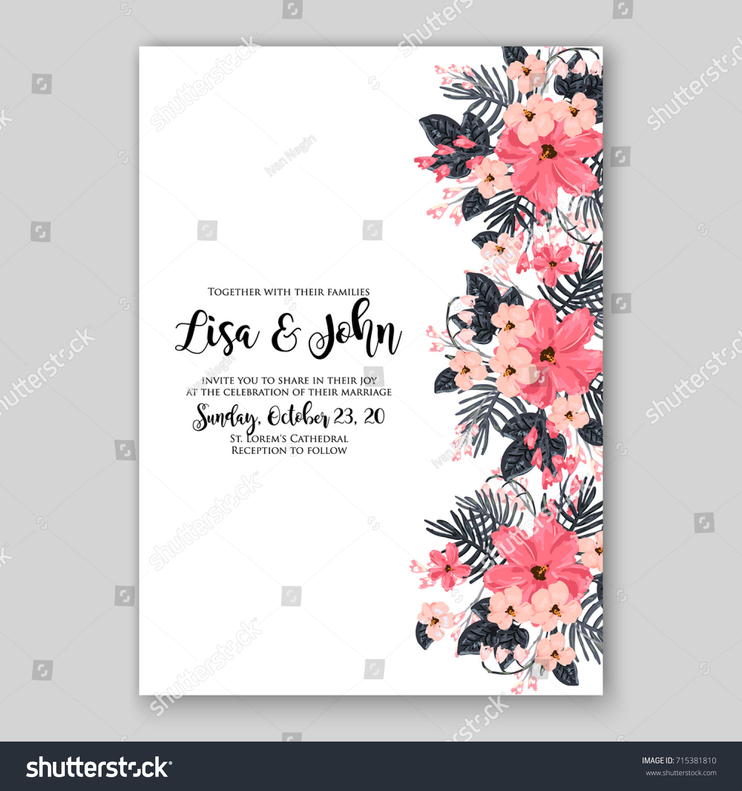 Hibiscus Wedding Tropical Invitation Template Stock Vector Royalty