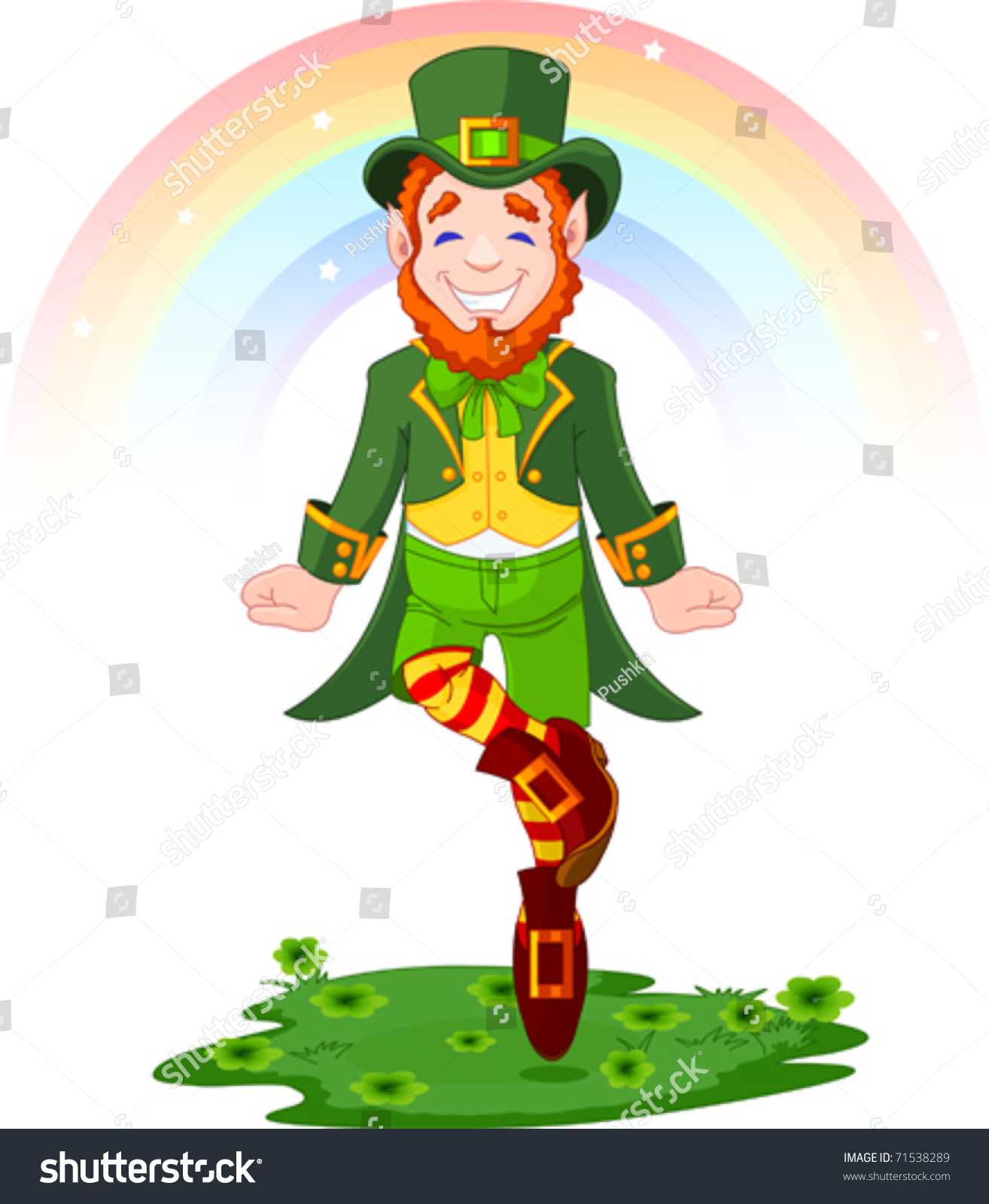 full length drawing leprechaun dancing jig stock vector 71538289