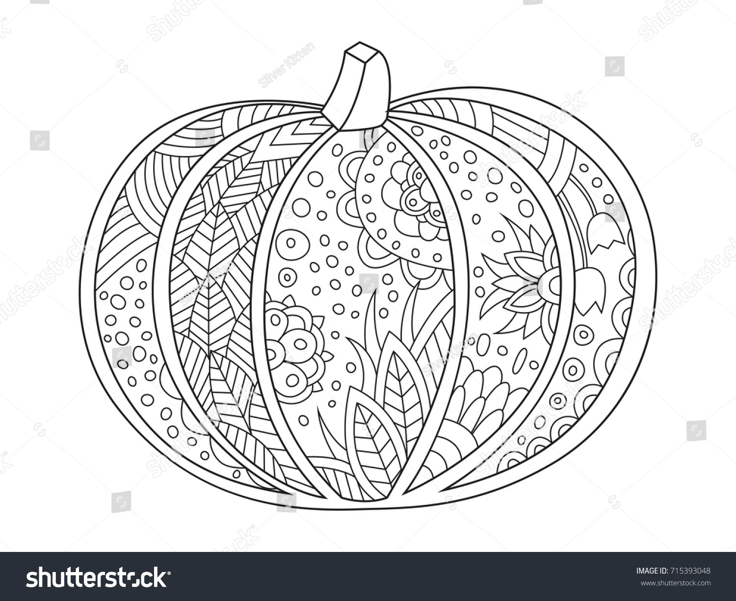 Outlined Doodle Antistress Coloring Book Page Stock Vector HD ...