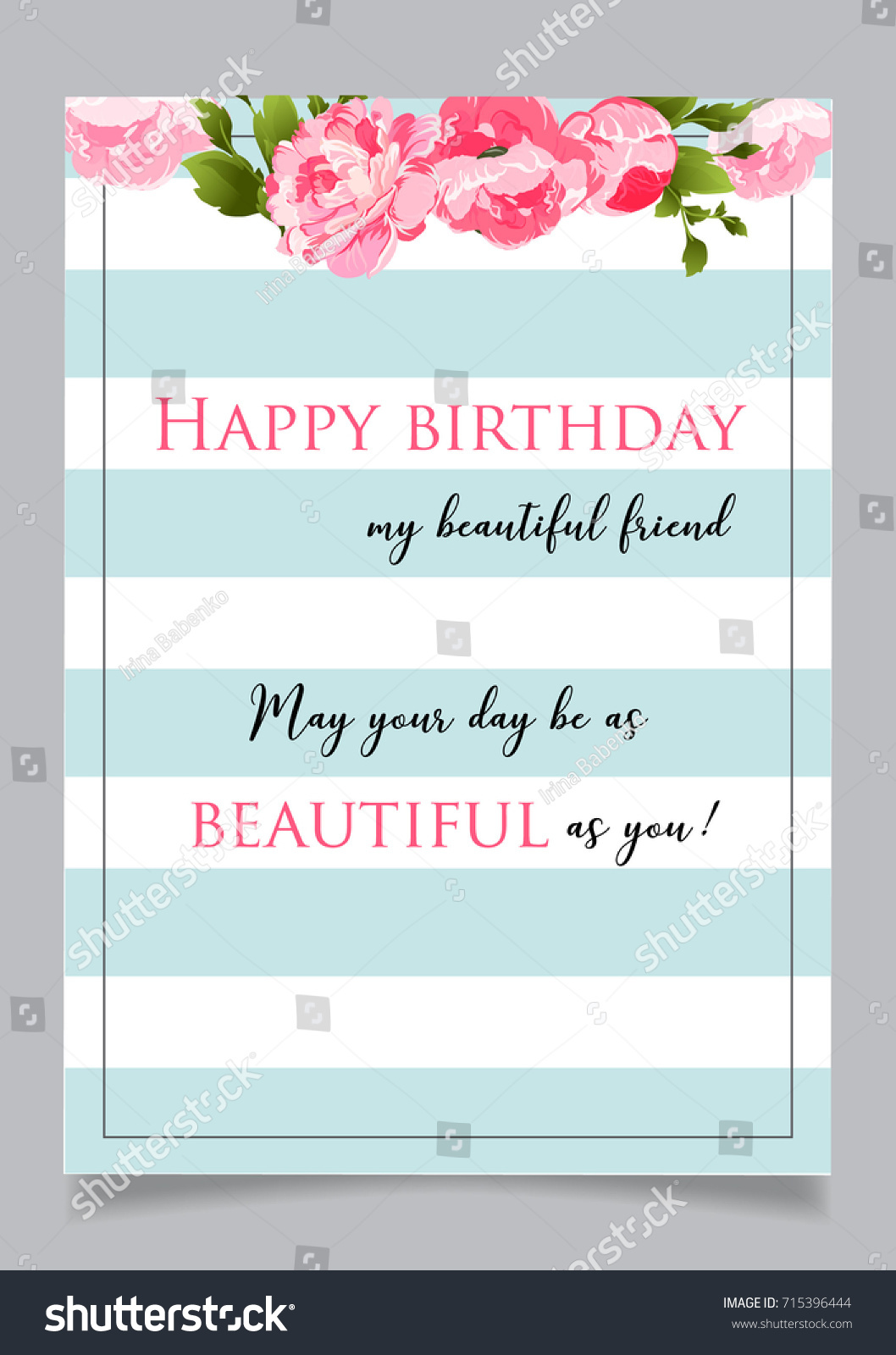 birthday greeting card with text happy birthday to my beautiful friend may you day be