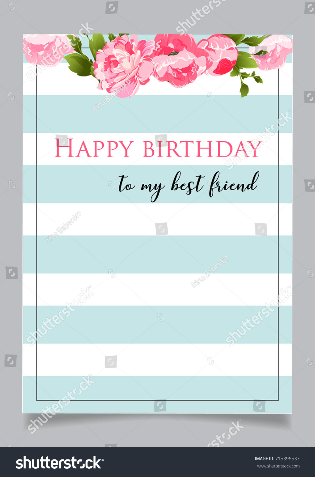 Birthday Greeting Card With Text To My Best Friend Blue Striped Background Floral Elements