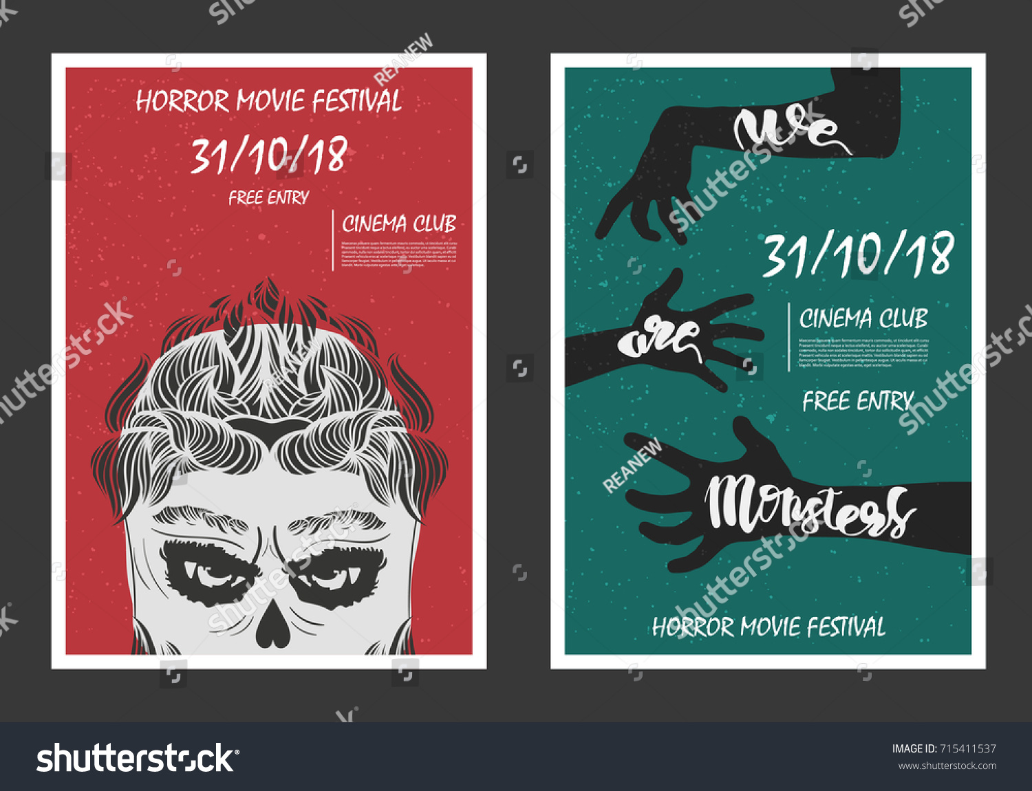 horror movie retro posters set grunge stock vector (royalty free
