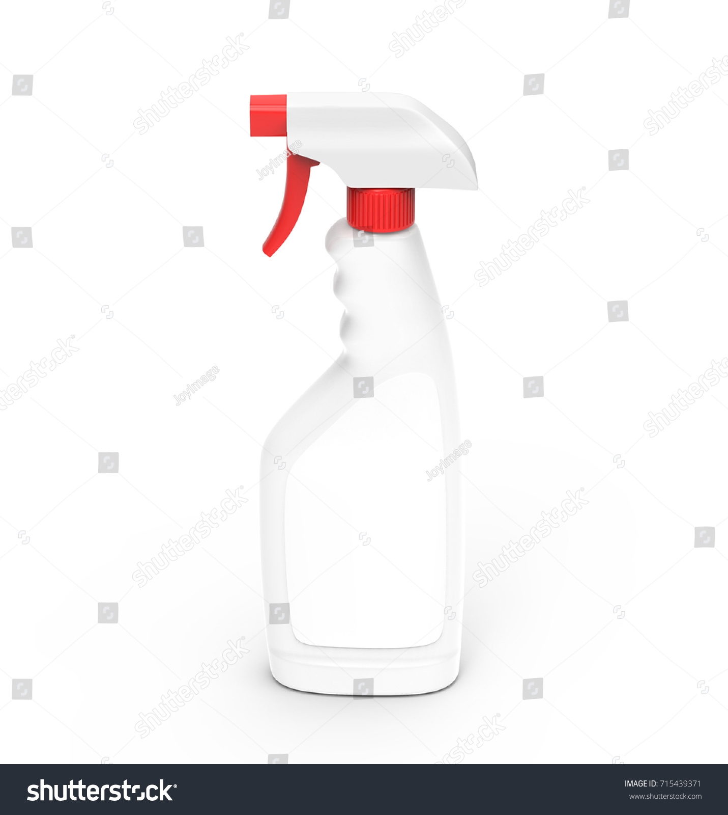 Glass Cleaner Mockup 3d Rendering Spray Bottle Template With Red Lid And Blank Label