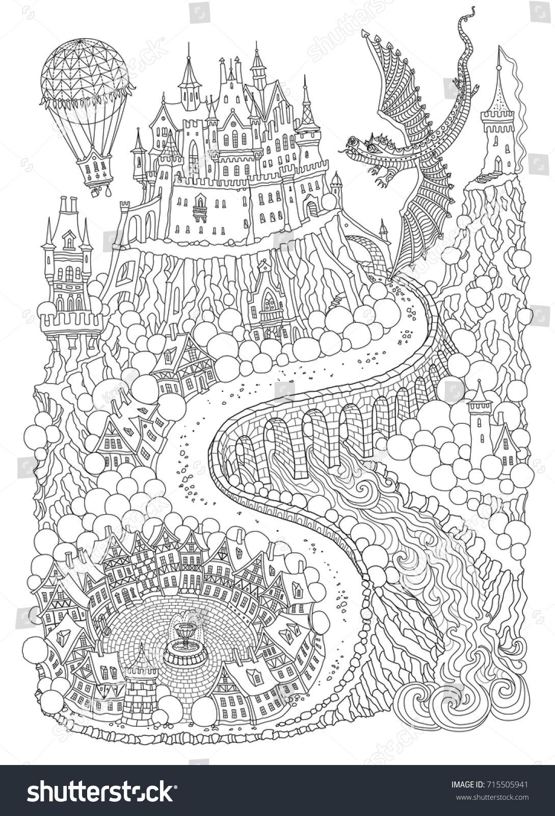 Fantasy Landscape Dragon Fairy Tale Medieval Stock Vector 715505941 ...