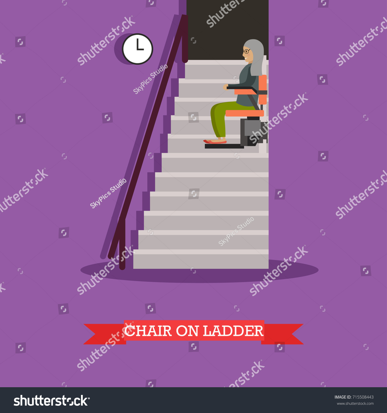 Illustration Elderly Woman Using Chair Lift Stock Illustration