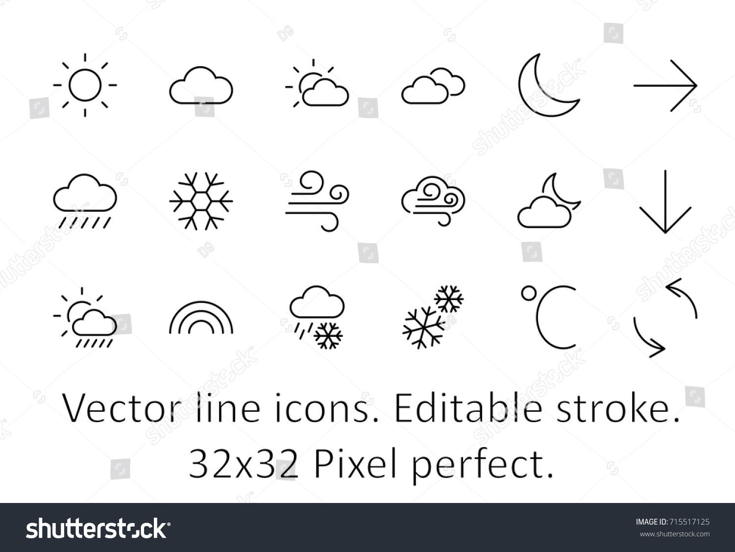 Set weather vector line icons contains stock vector 715517125 set of weather vector line icons contains symbols of the sun clouds snowflakes biocorpaavc Images