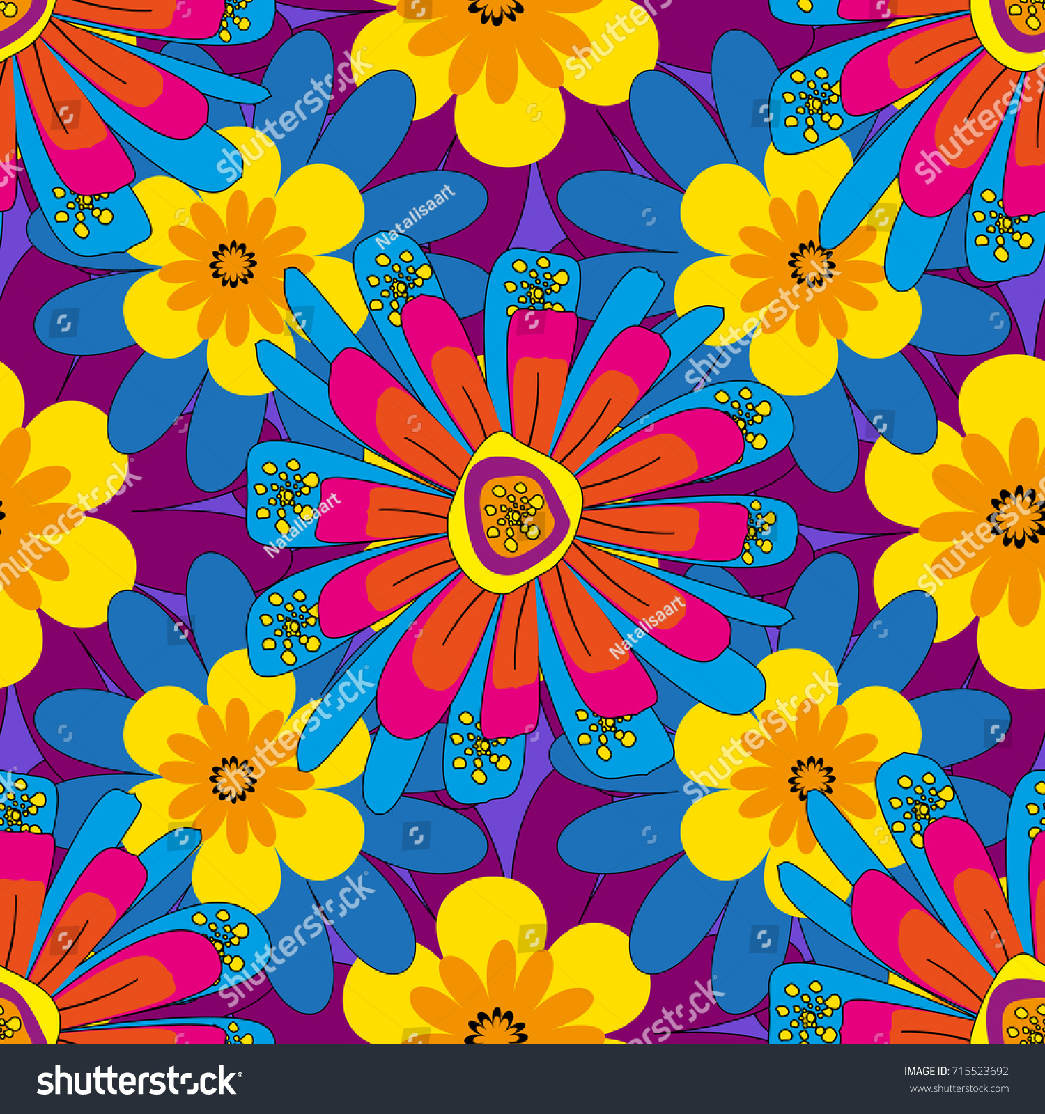 Vintage Floral Background Flowers Pattern Small Stock Illustration