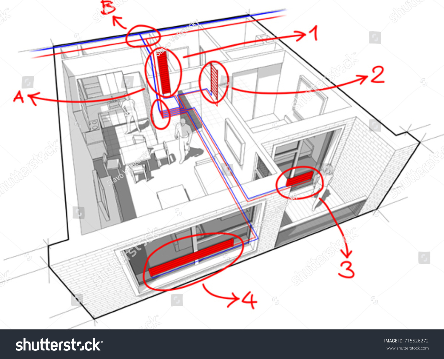 3d of apartment with hot water radiator heating and central heating pipes as source of
