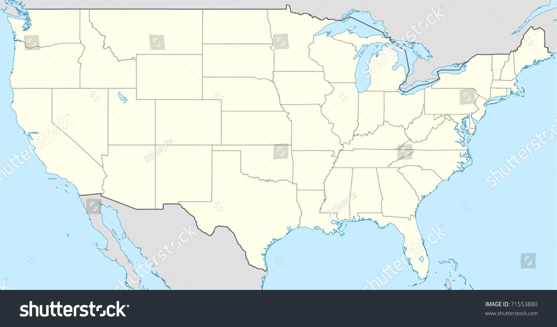 Illustration United States America Map Showing Stock Illustration ...