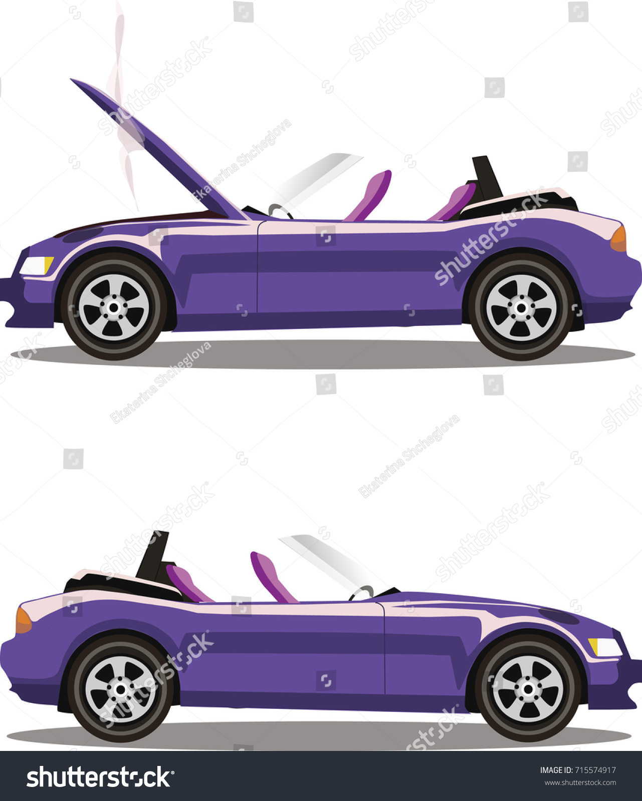 Broken Lilac Cabriolet Sport Cartoon Car Stock Vector 715574917