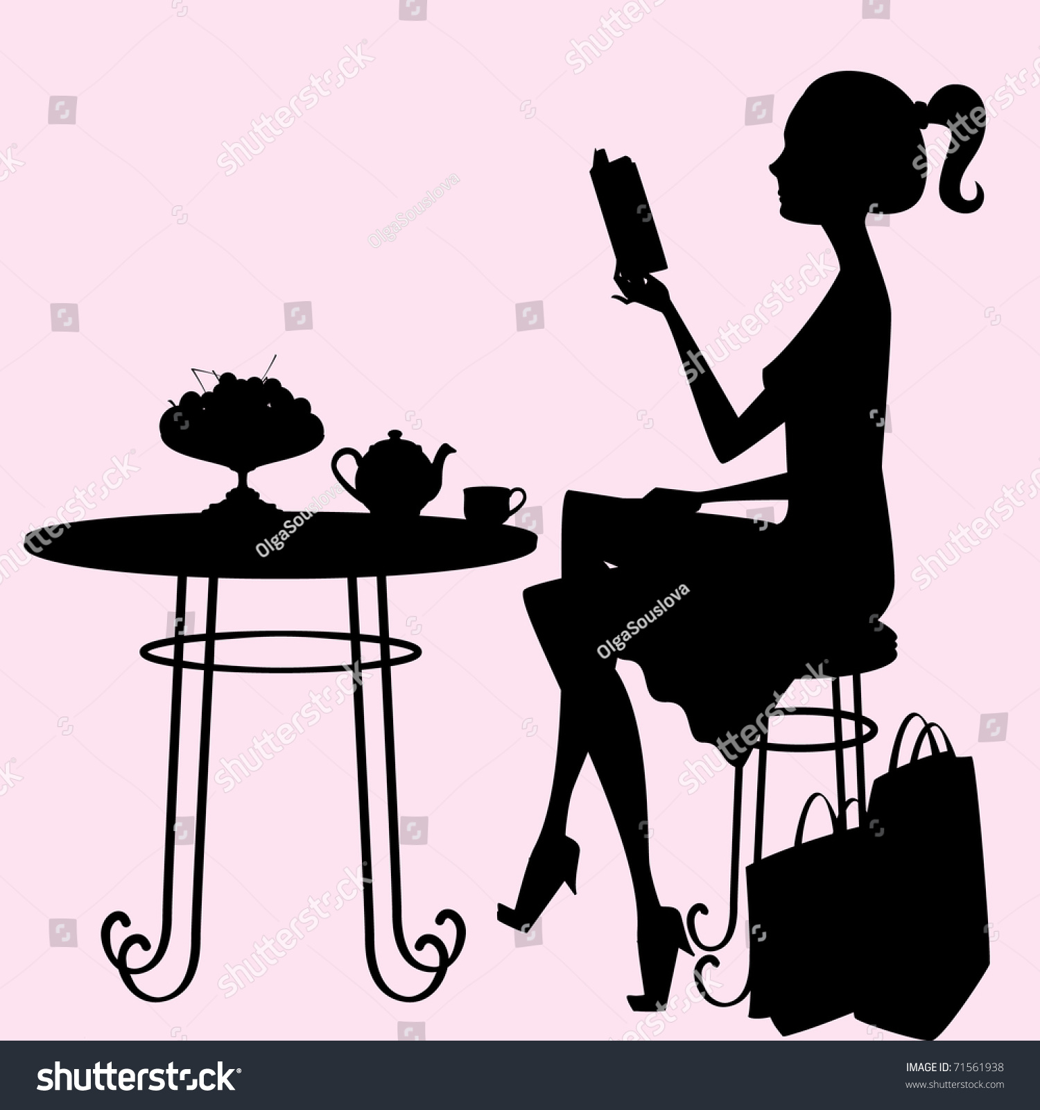 Female Silhouette Sitting Table Drinking Tea Stock Vector