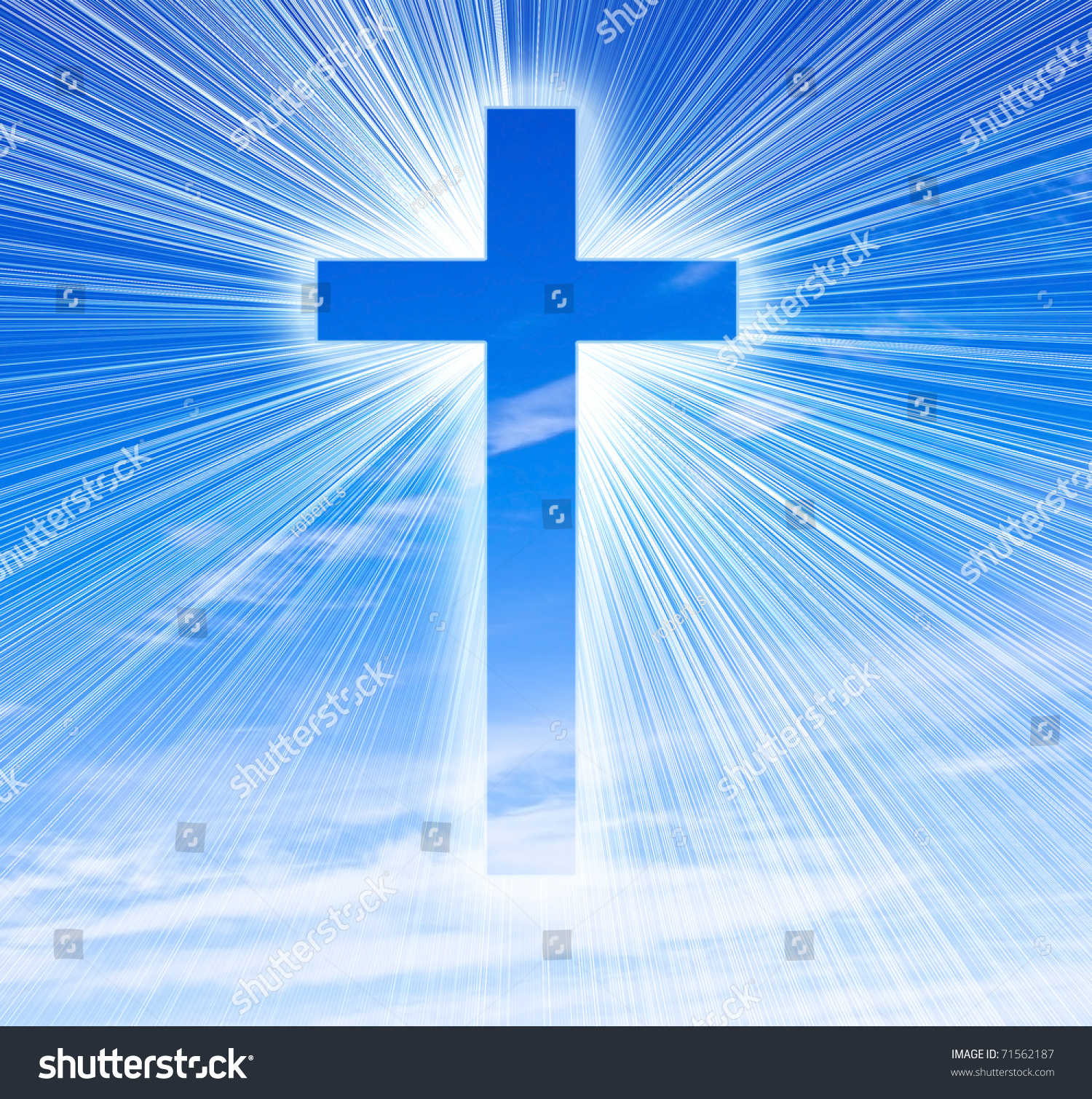 Silhouette of the holy cross on background of storm clouds stock - Glowing Cross On A Sky